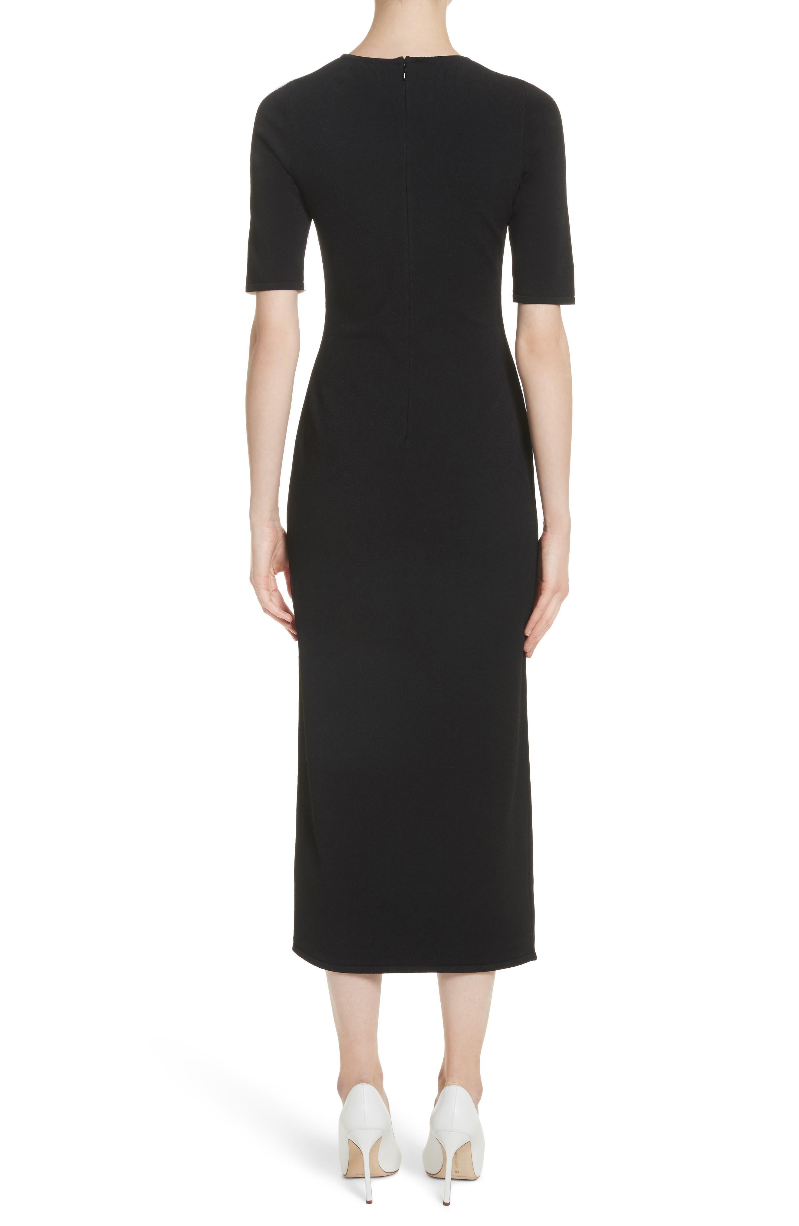 Intarsia Leaf Print Dress,                             Alternate thumbnail 2, color,                             White/ Black/ Evergreen
