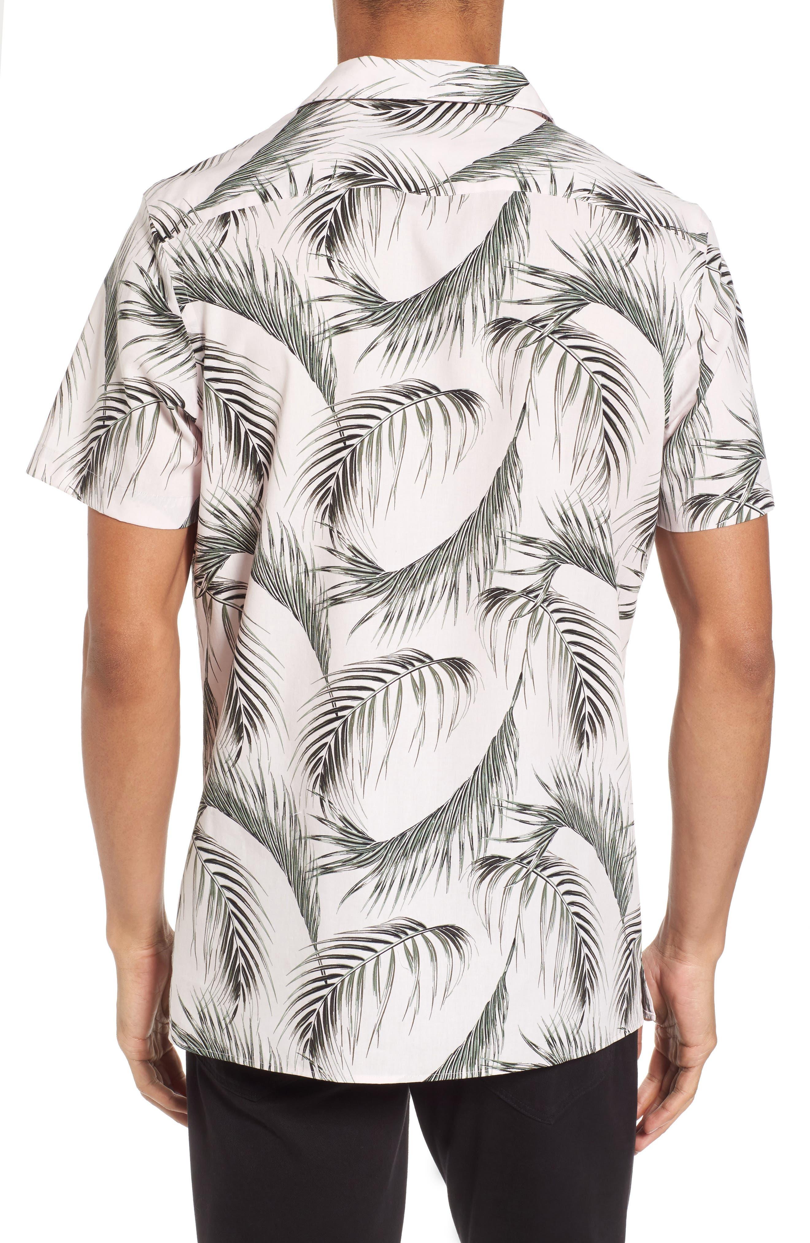 Slim Fit Short Sleeve Print Camp Shirt,                             Alternate thumbnail 2, color,                             Pink Pretty Palms