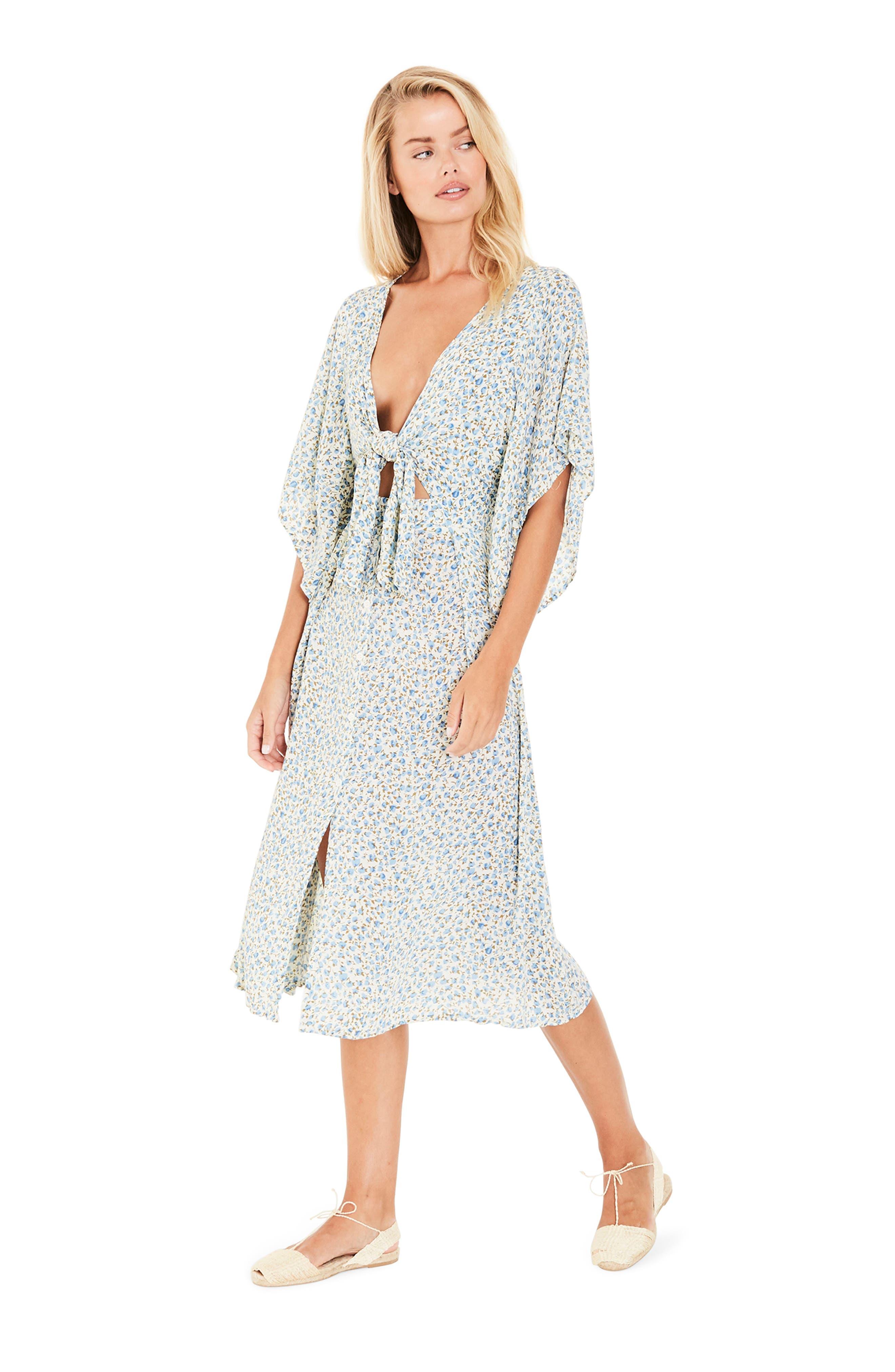 Massimo Tie Front Midi Dress,                             Alternate thumbnail 2, color,                             Dahlia Floral Print