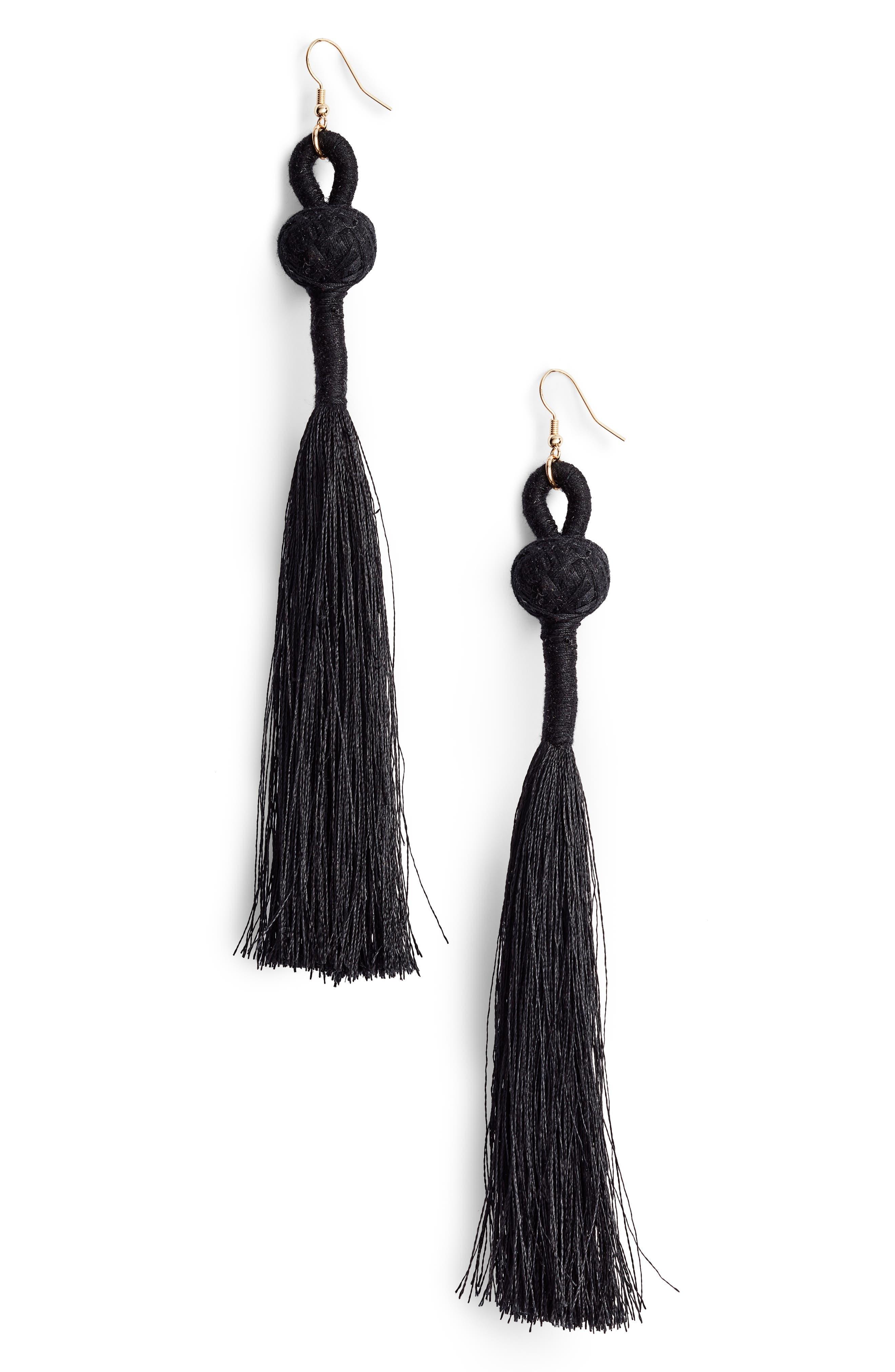 Loop Tassel Earrings,                         Main,                         color, Black