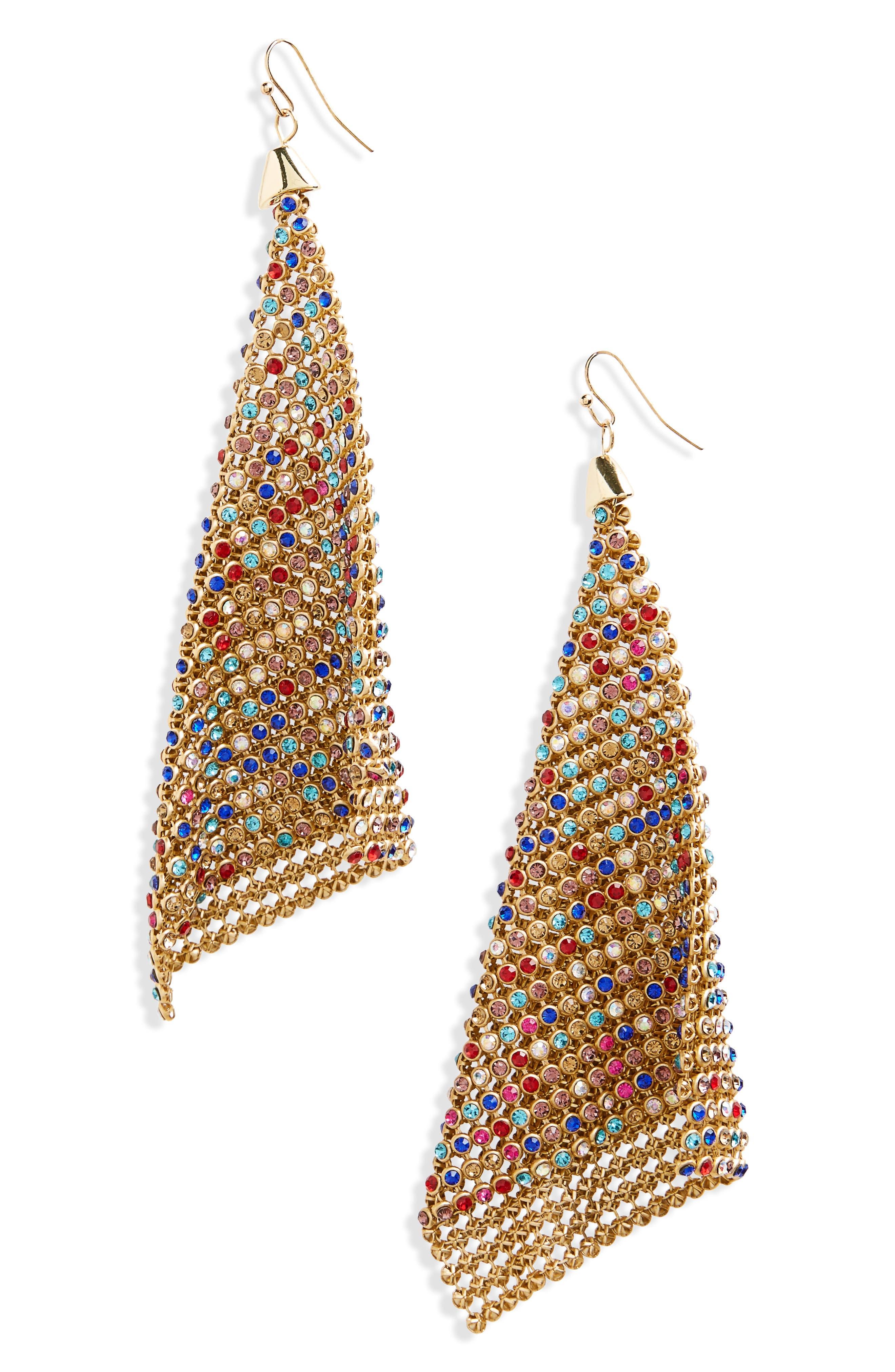 Crystal Mesh Drop Earrings,                             Main thumbnail 1, color,                             Gold Multi
