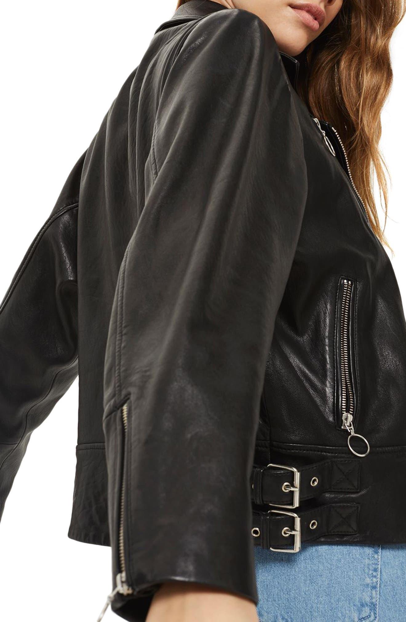 Brigitte Oversized Leather Biker Jacket,                             Alternate thumbnail 4, color,                             Black