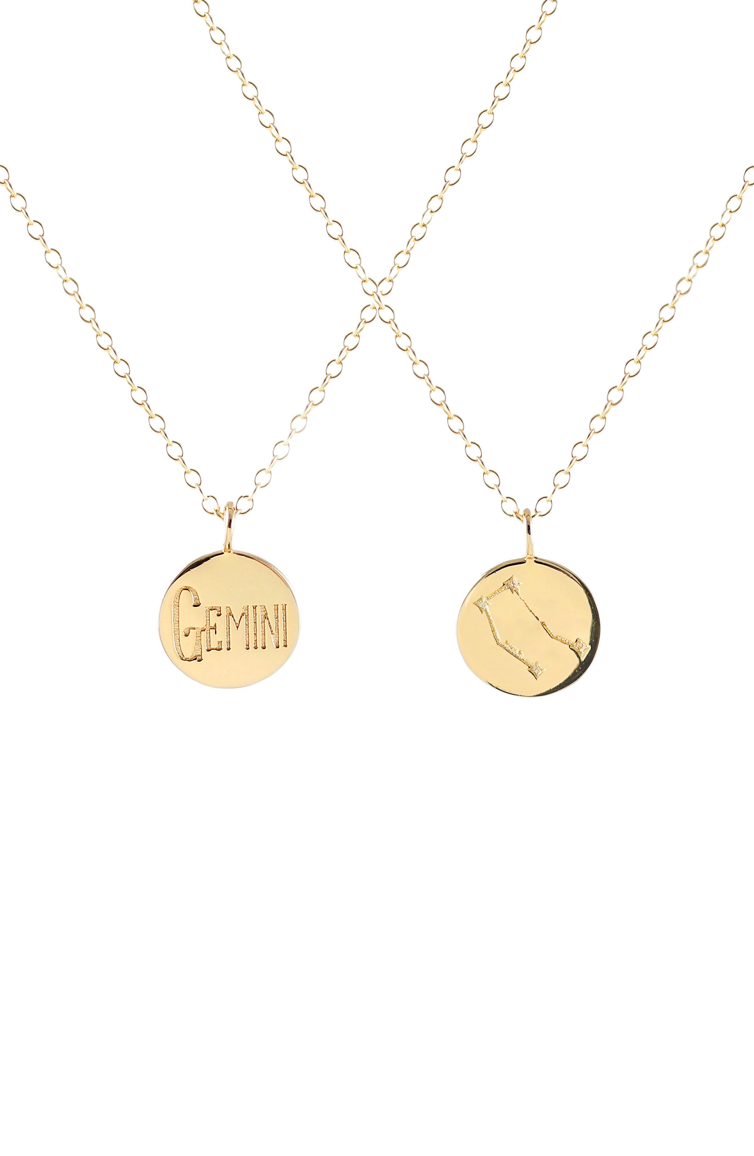 Zodiac Charm Necklace,                             Main thumbnail 1, color,                             Gemini - Gold