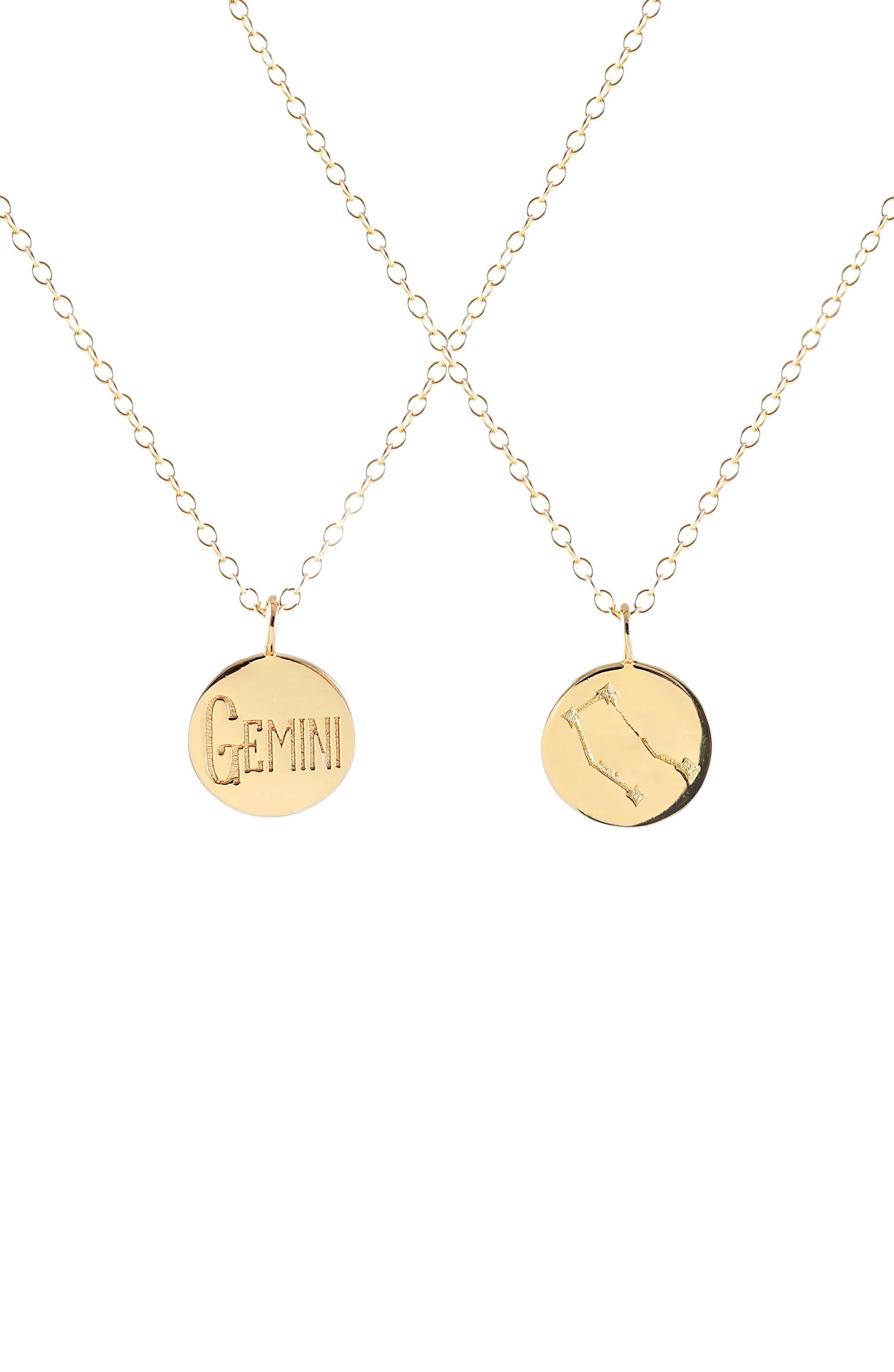 Zodiac Charm Necklace,                         Main,                         color, Gemini - Gold