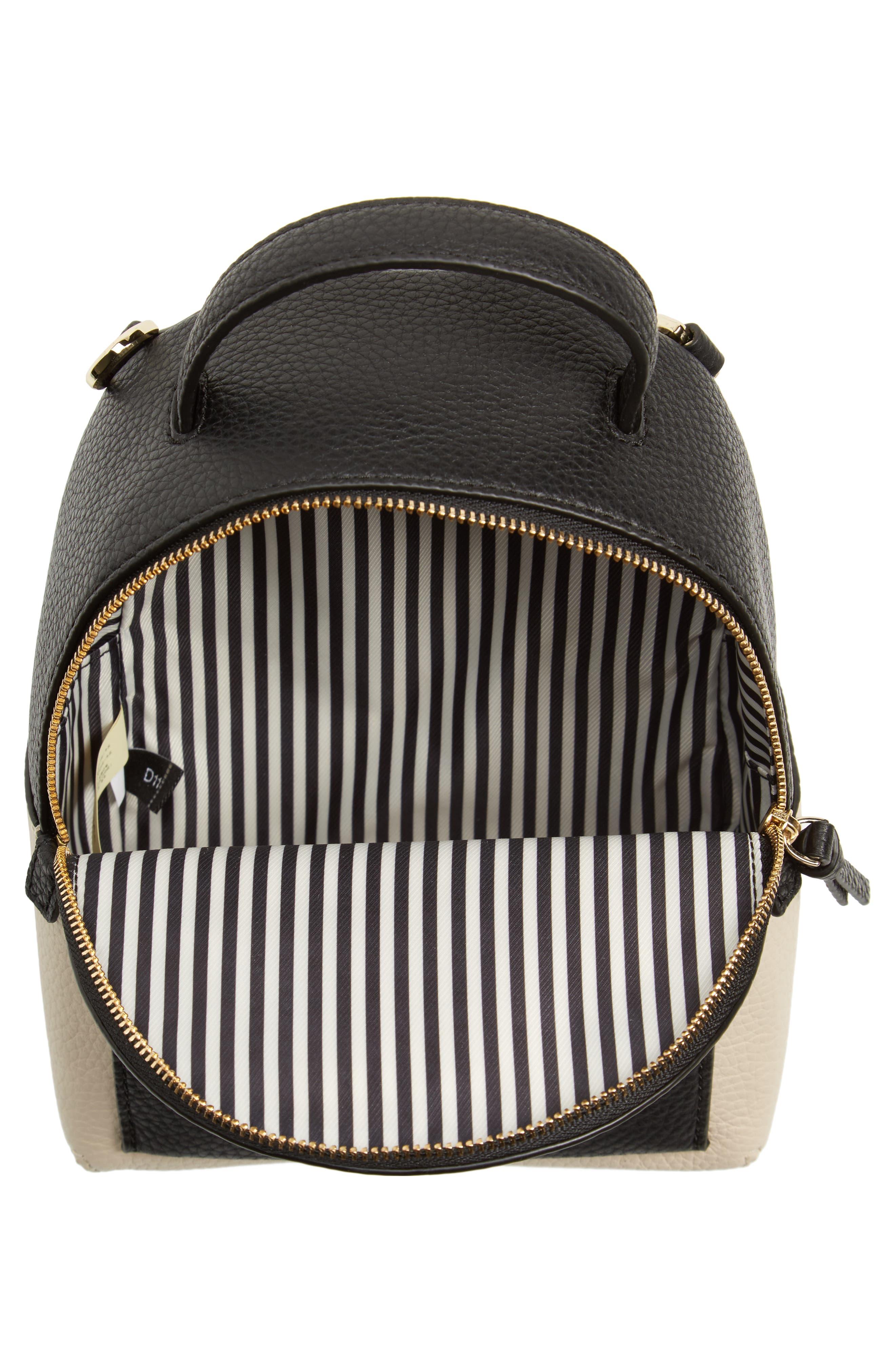 jackson street merry convertible leather backpack,                             Alternate thumbnail 4, color,                             Black/ Soft Porcelain