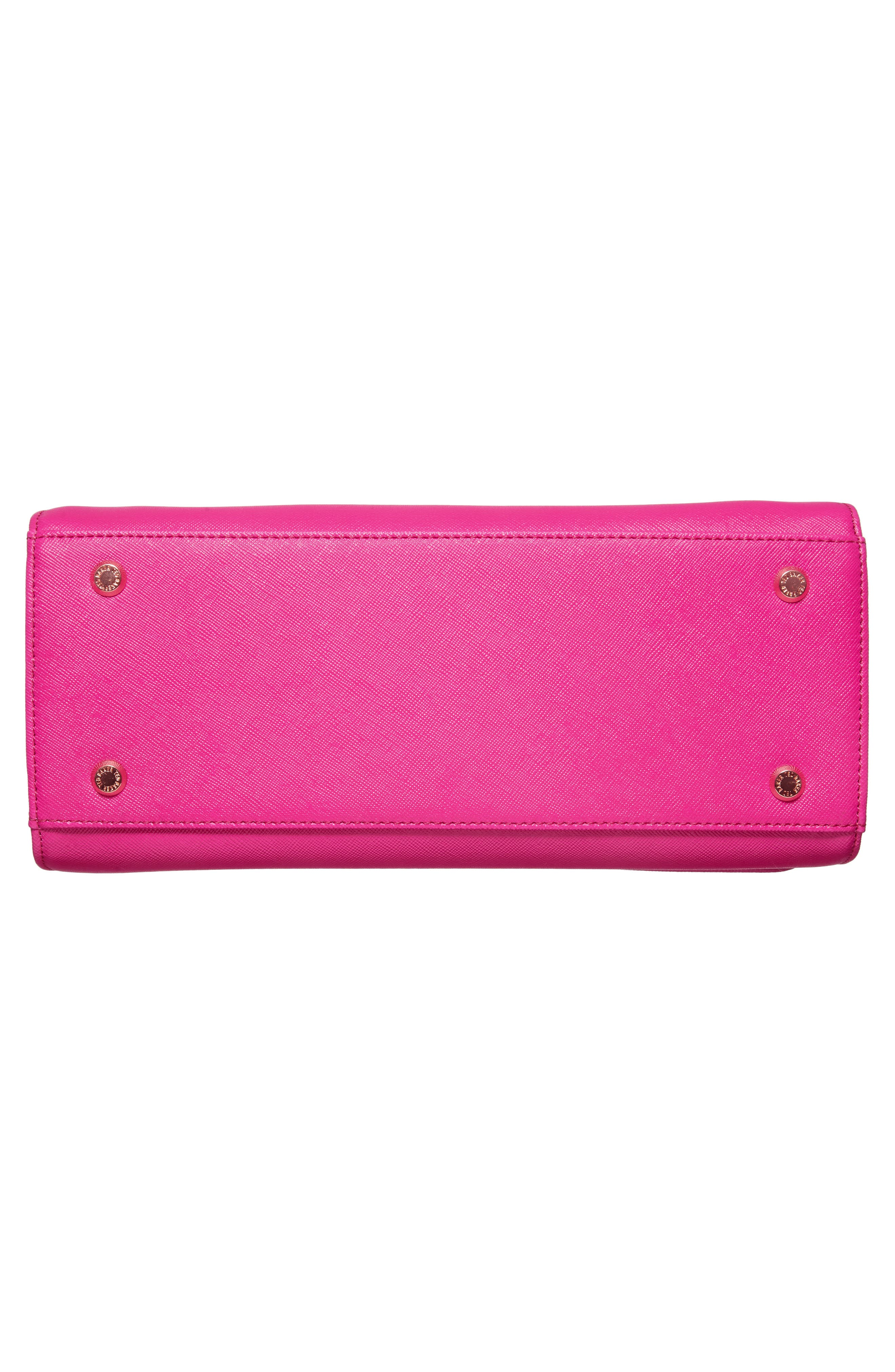 Hetie Faux Leather Satchel,                             Alternate thumbnail 6, color,                             Bright Pink