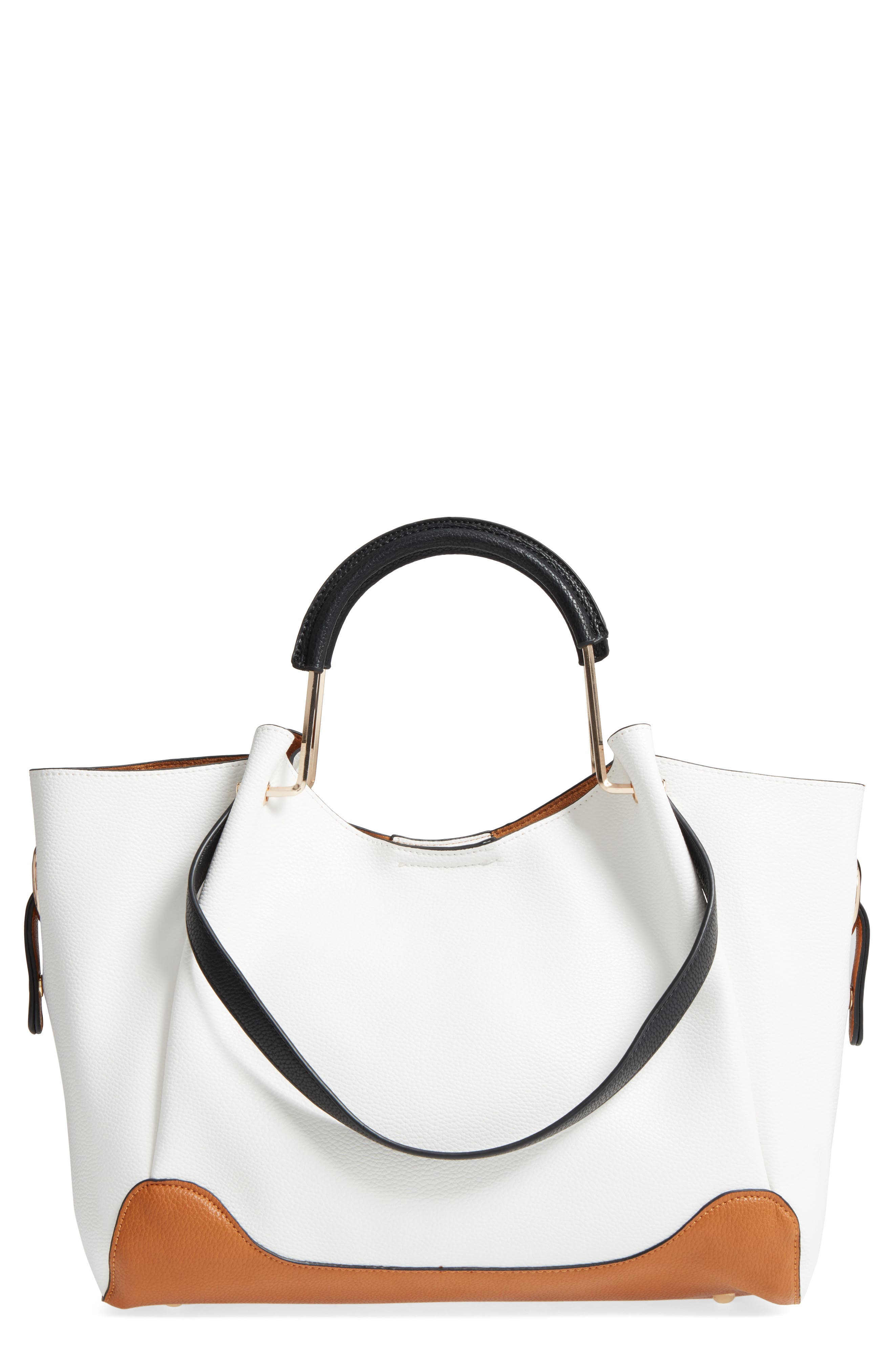 Faux Leather Tote & Canvas Pouch,                         Main,                         color, White