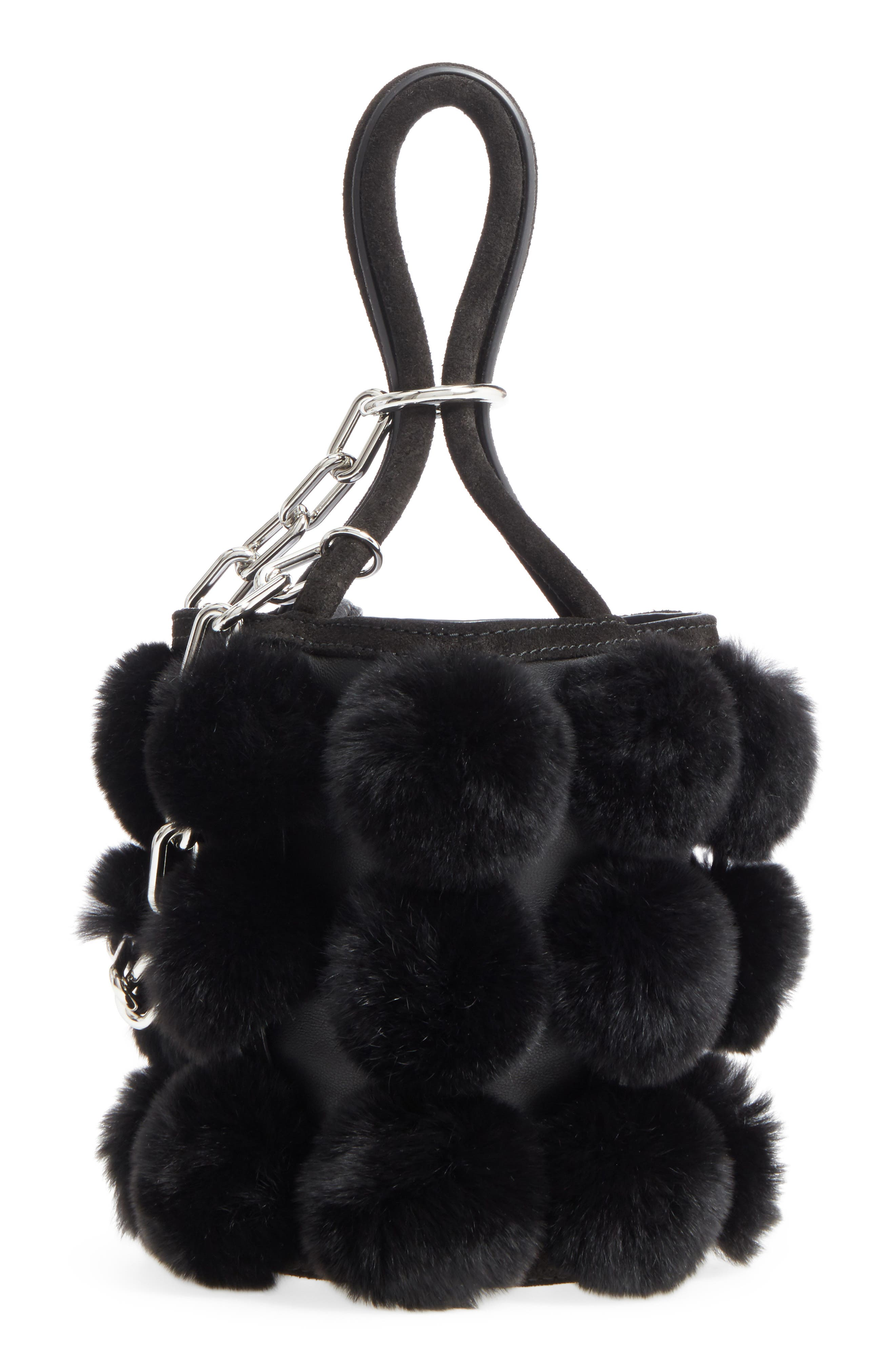 Alternate Image 1 Selected - Alexander Wang Mini Roxy Genuine Rabbit Fur Pompom Leather