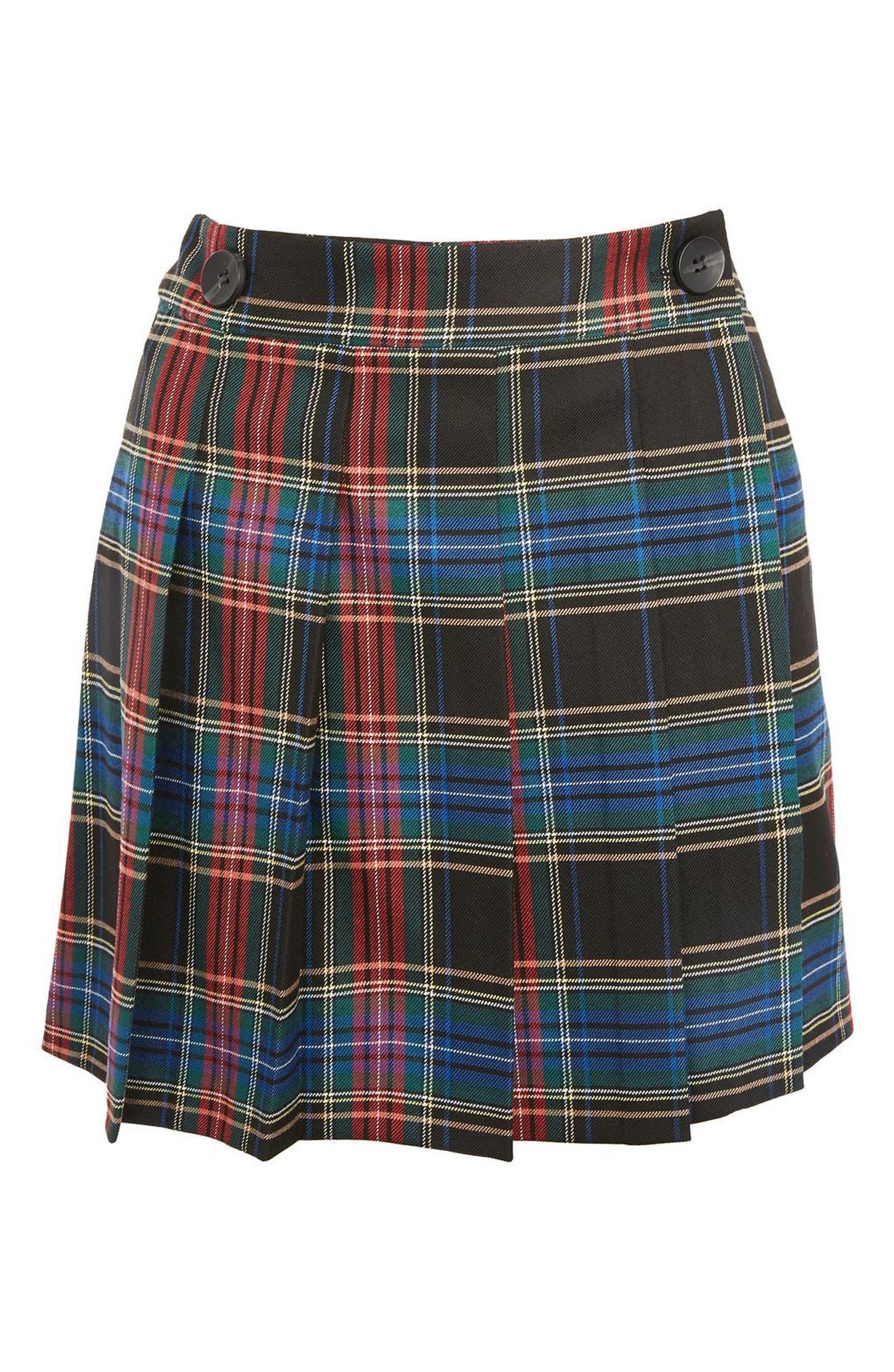 Plaid Kilt Miniskirt,                             Alternate thumbnail 4, color,                             Black Multi