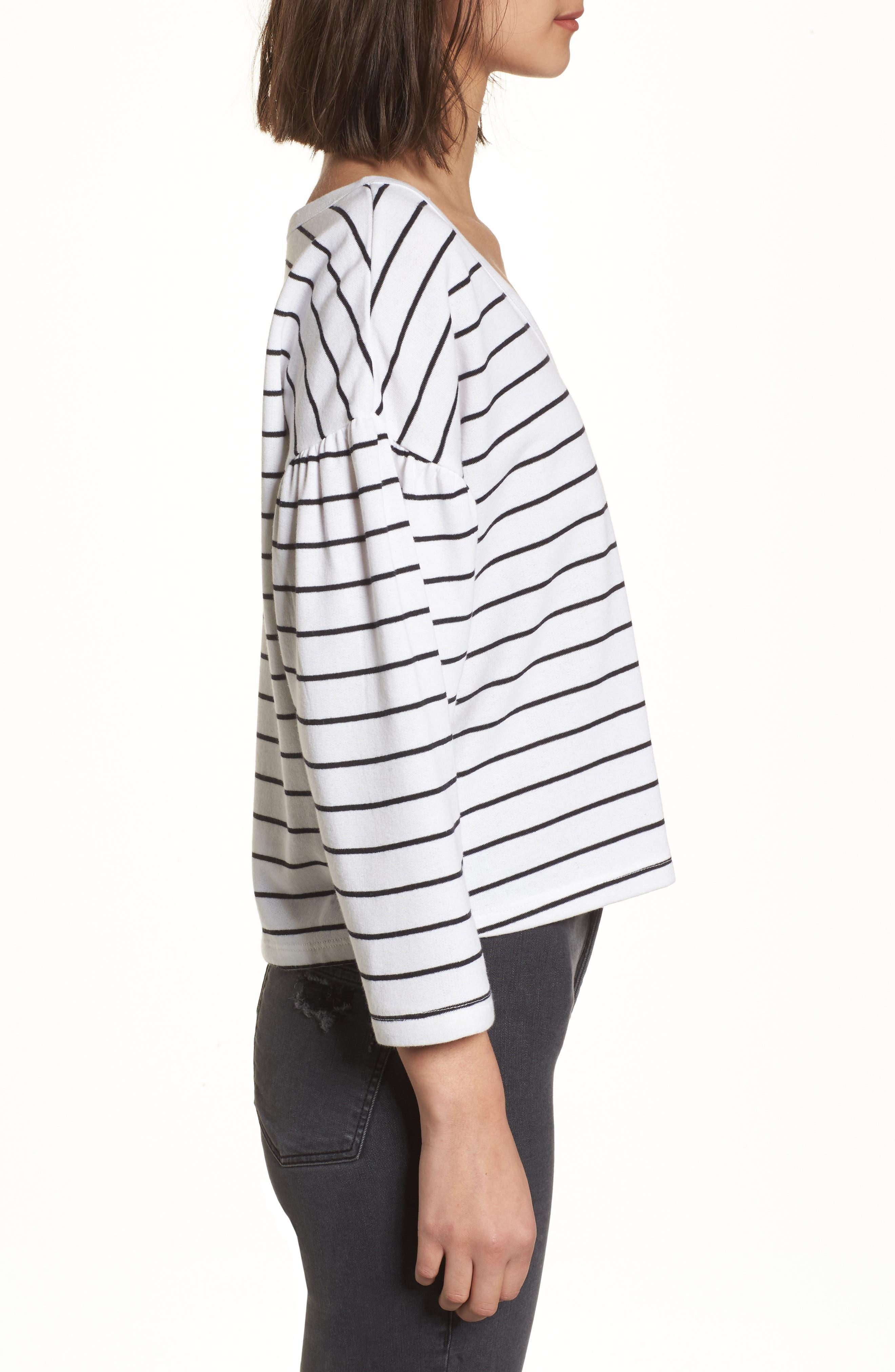 Drop Shoulder Stripe Sweater,                             Alternate thumbnail 3, color,                             White Liz Stripe