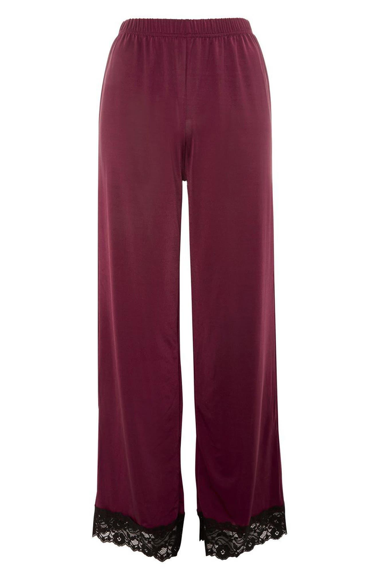 Alternate Image 4  - Topshop Jersey Satin & Lace Pajama Pants