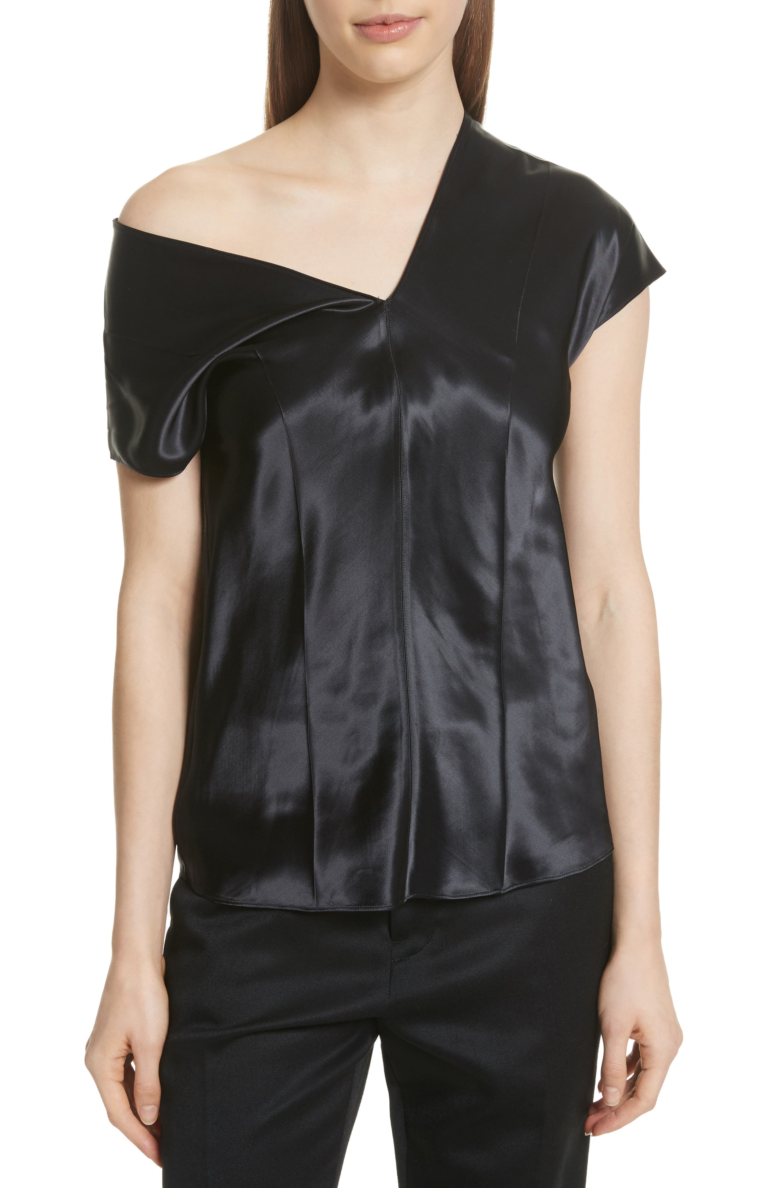Helmut Lang One-Shoulder Satin Top