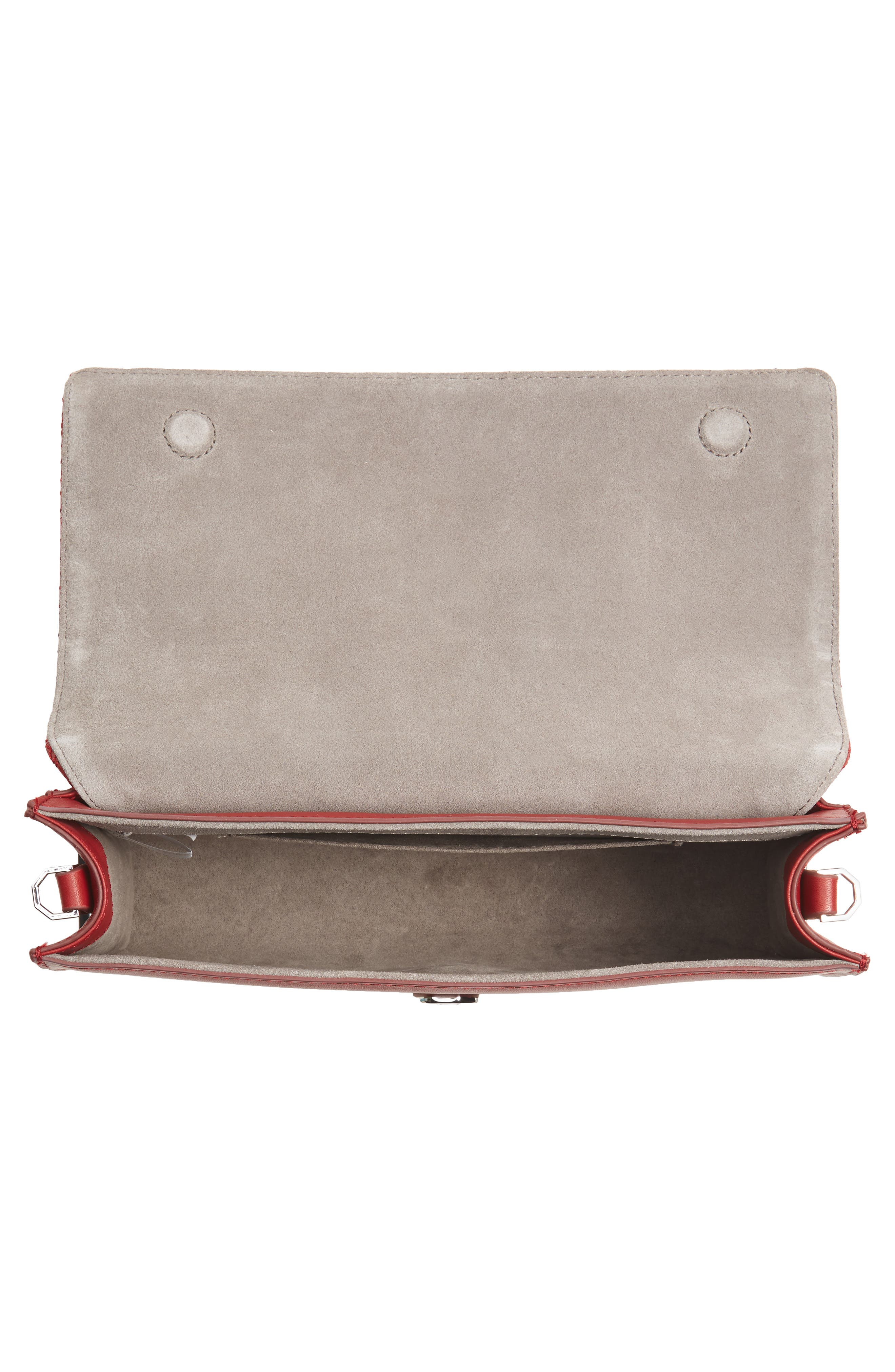 'Yvet' Leather Flap Clutch,                             Alternate thumbnail 4, color,                             Cherry Red