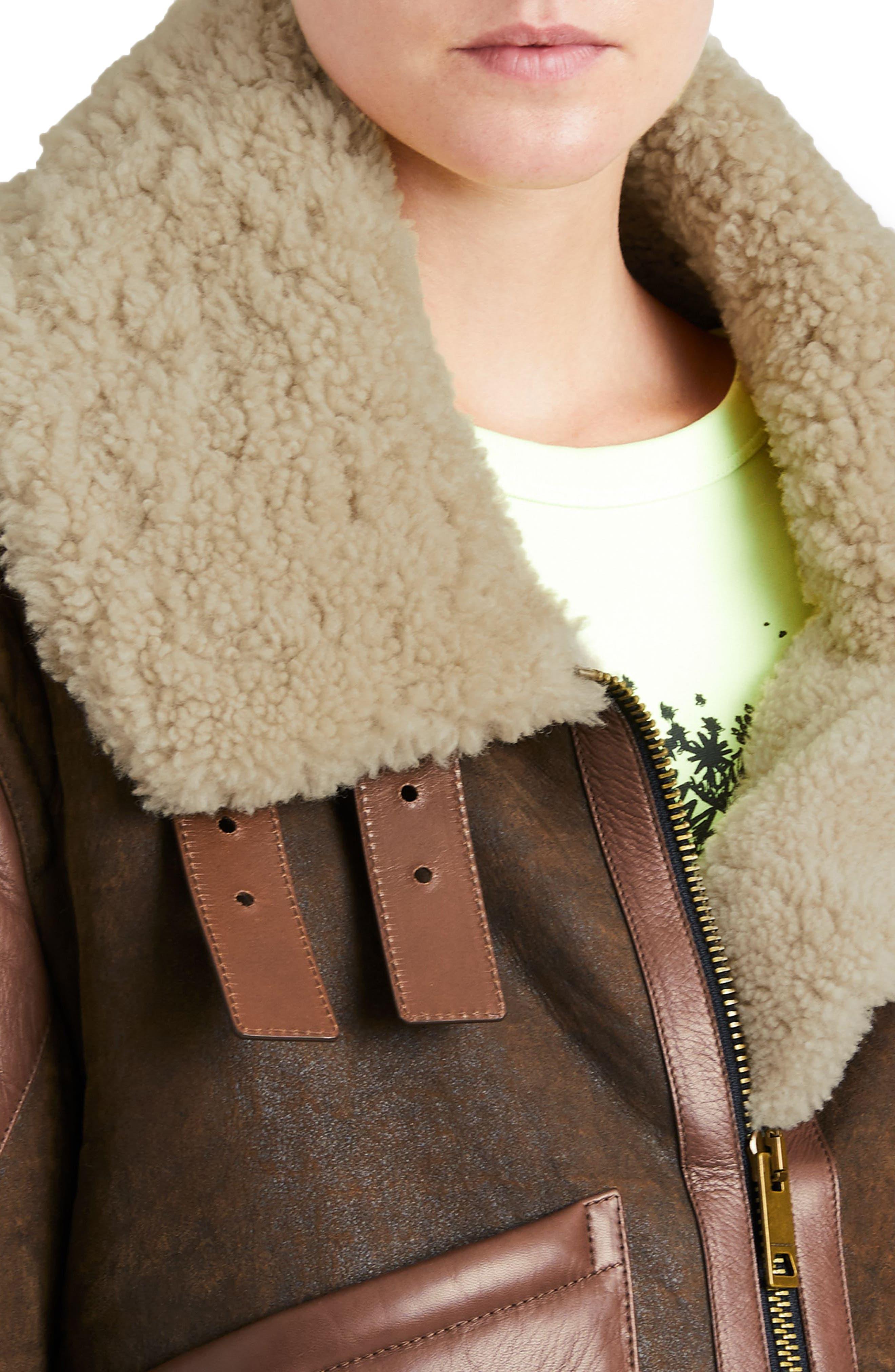 Blexley Genuine Shearling Coat,                             Alternate thumbnail 4, color,                             Dark Chocolate
