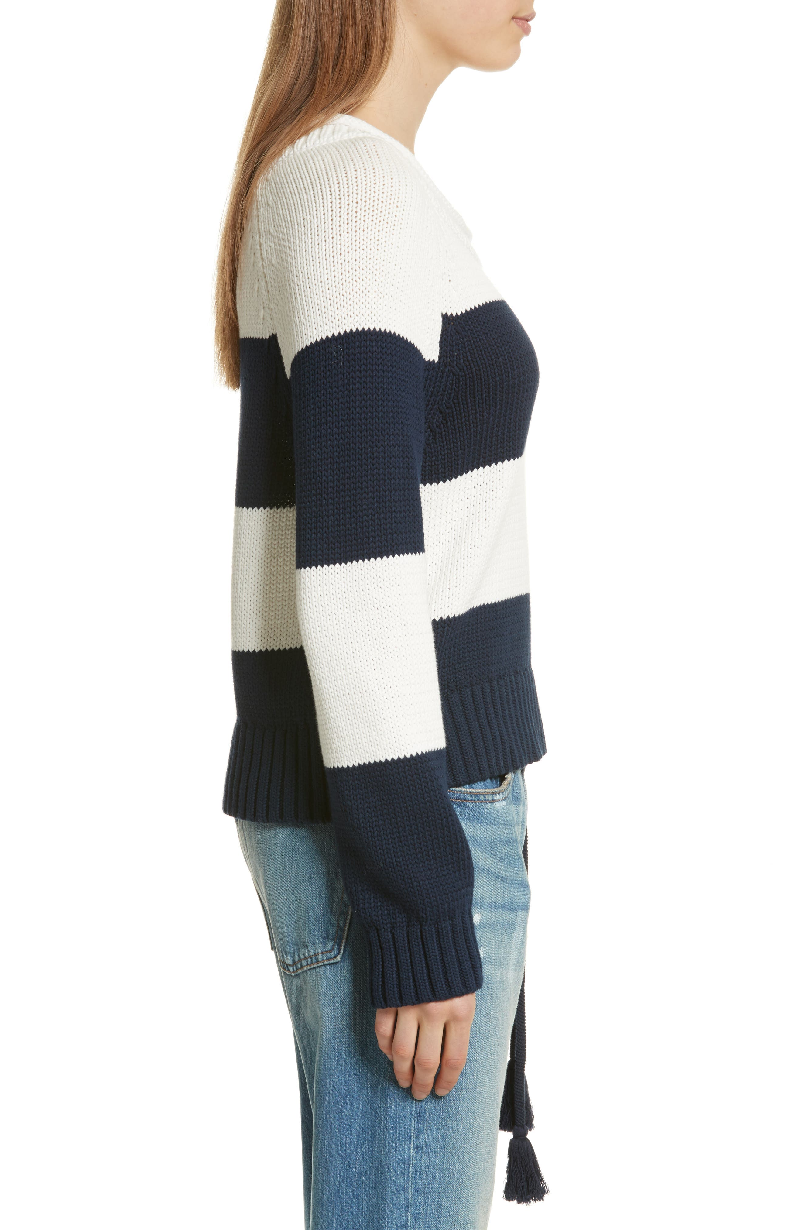 Stripe Cotton Blend Sweater,                             Alternate thumbnail 4, color,                             Off White/ Navy Stripe