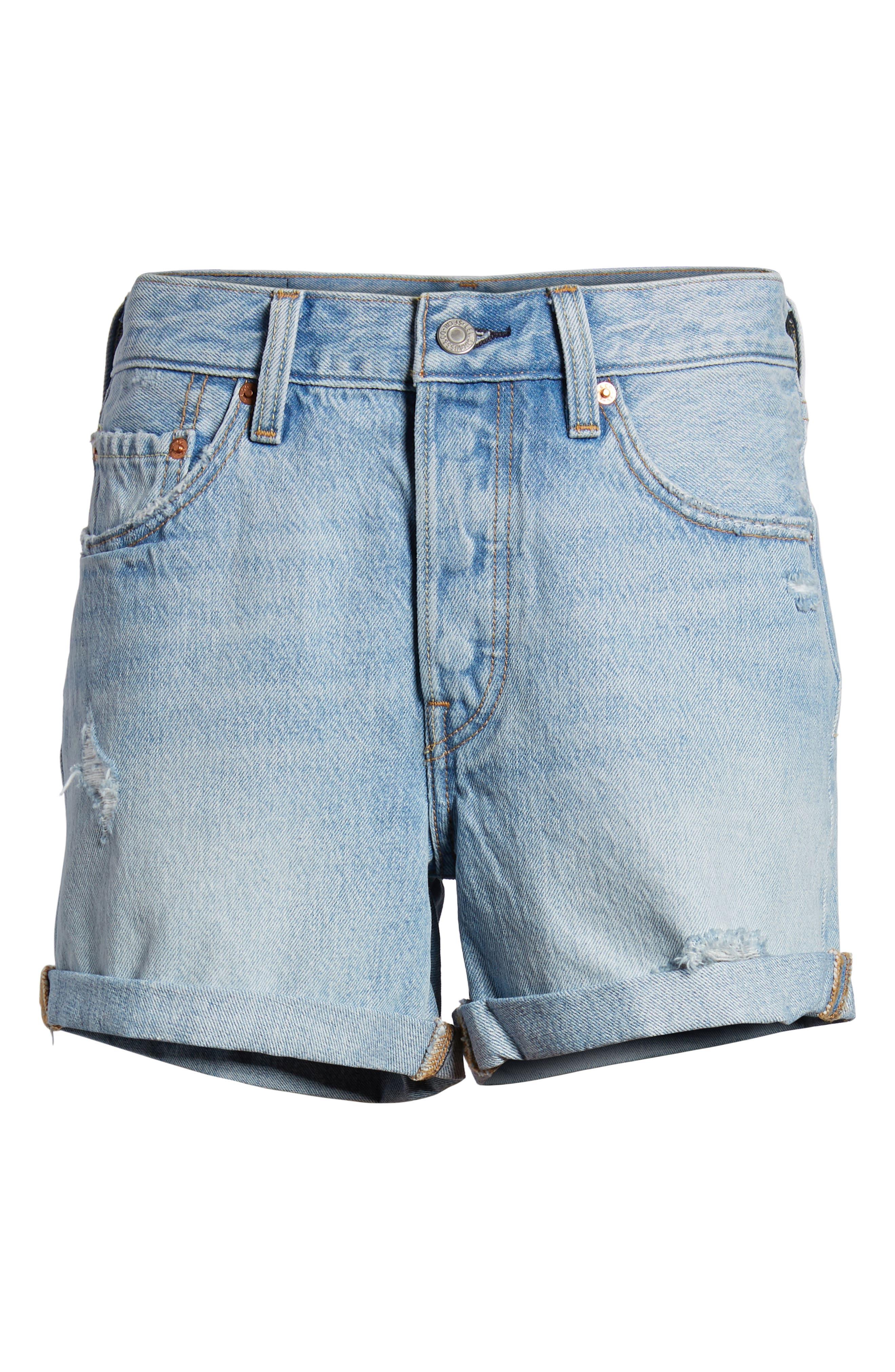 501<sup>®</sup> Cuffed Long Denim Shorts,                             Alternate thumbnail 6, color,                             North Beach Blues