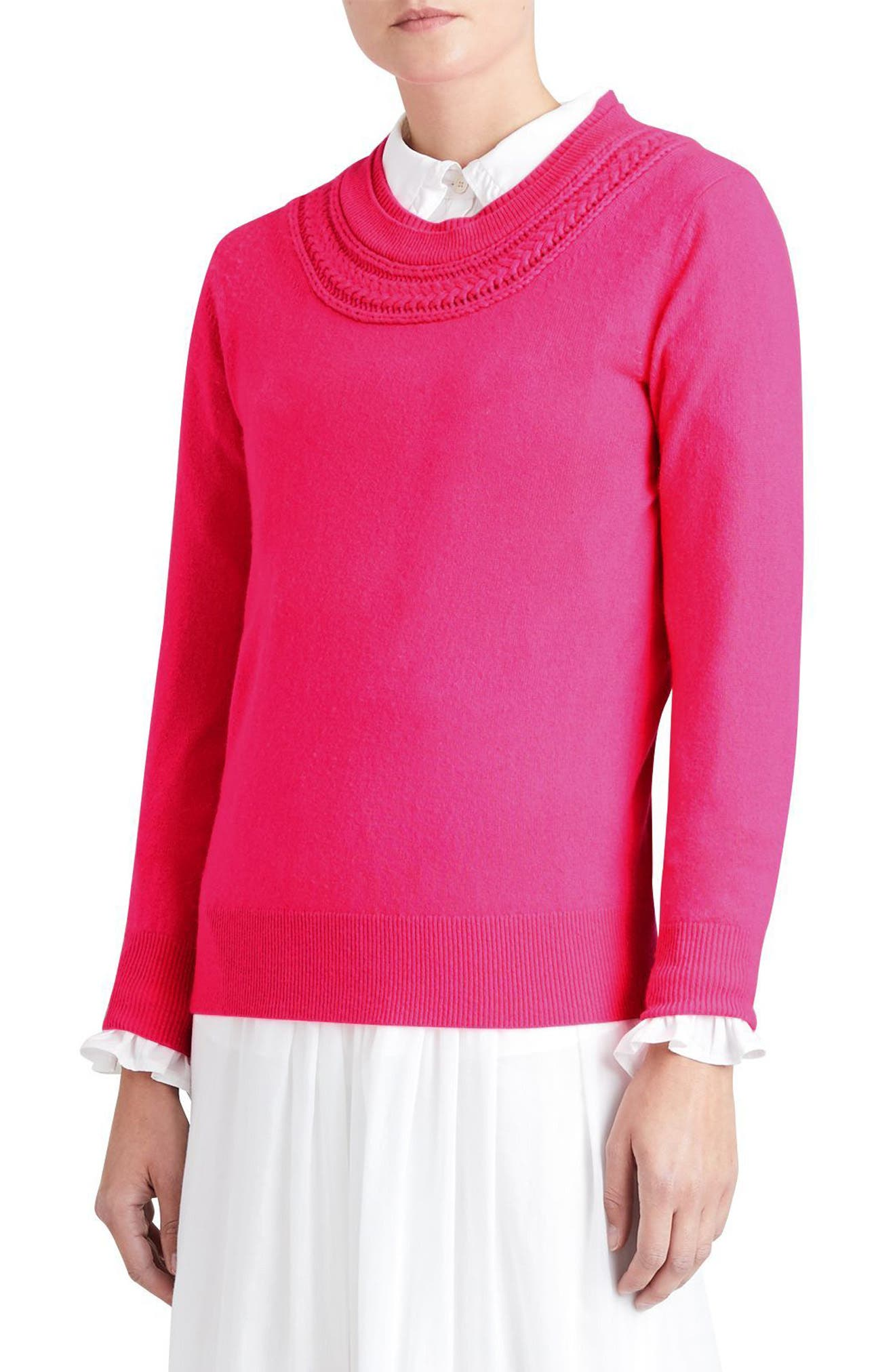 Guadaira Cashmere Sweater,                             Alternate thumbnail 4, color,                             Bright Rose Pink