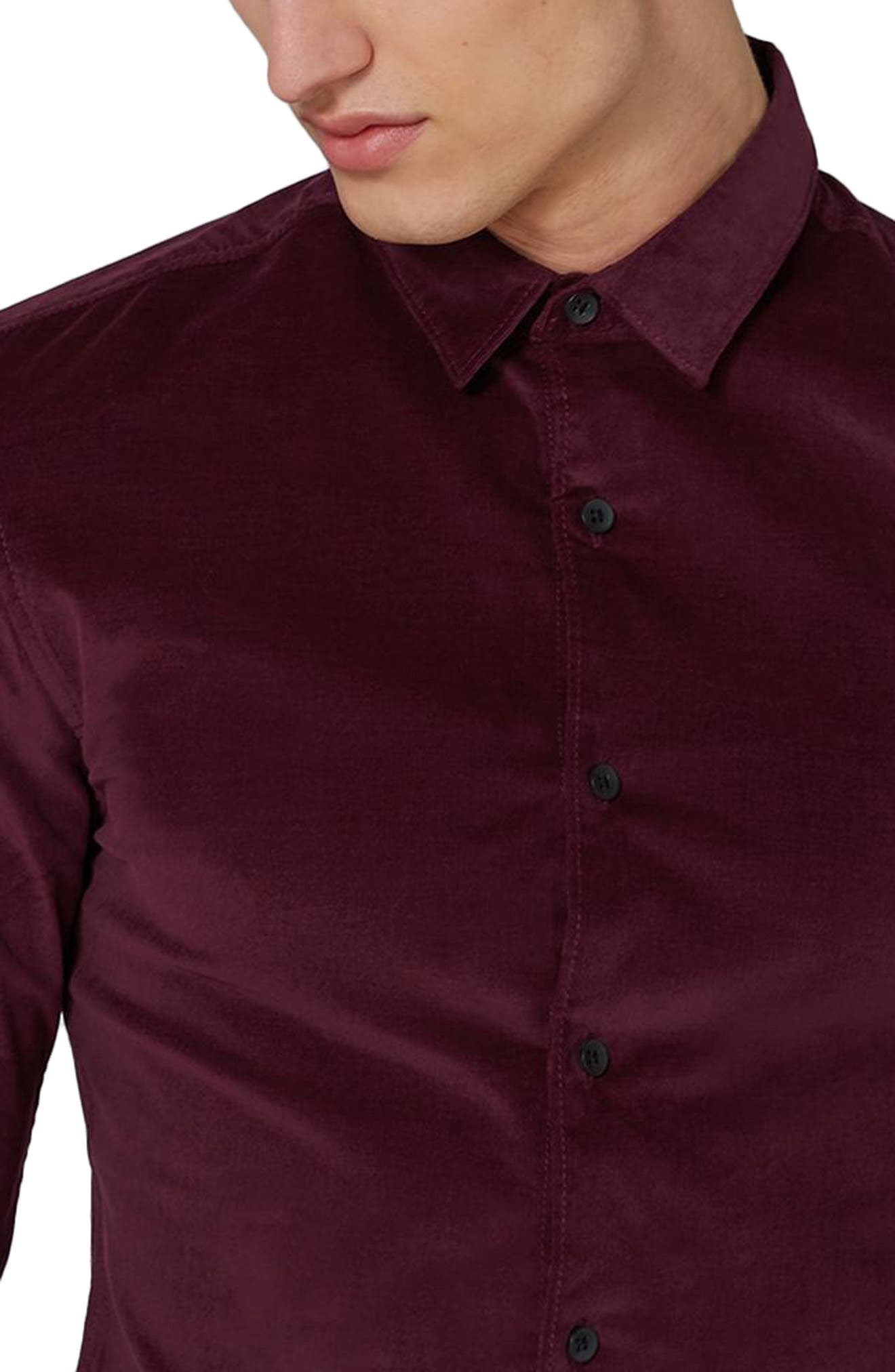 Muscle Fit Corduroy Shirt,                             Alternate thumbnail 3, color,                             Burgundy