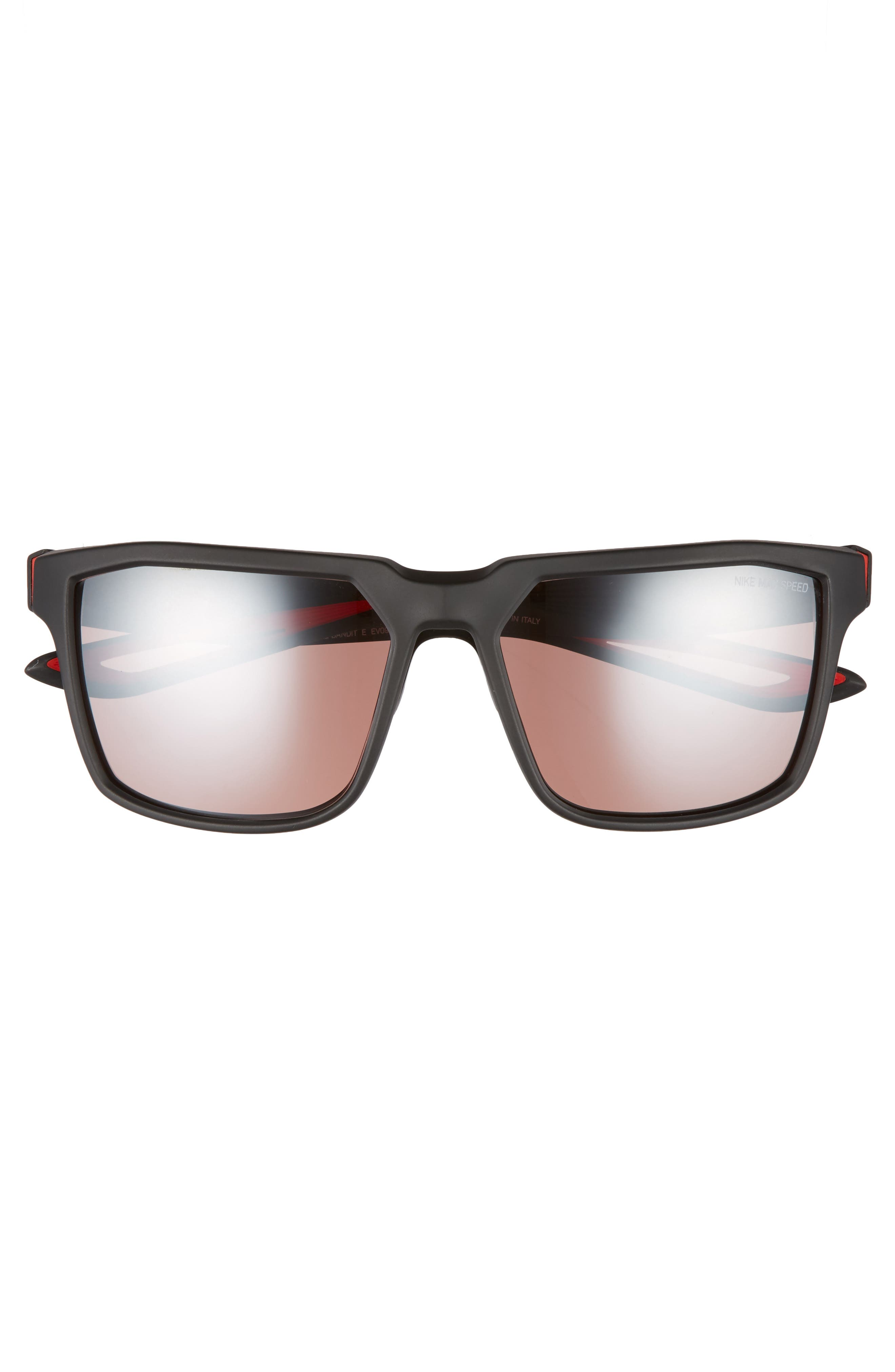 Bandit E 59mm Running Sunglasses,                             Alternate thumbnail 2, color,                             Matte Black/ Bright Crimson