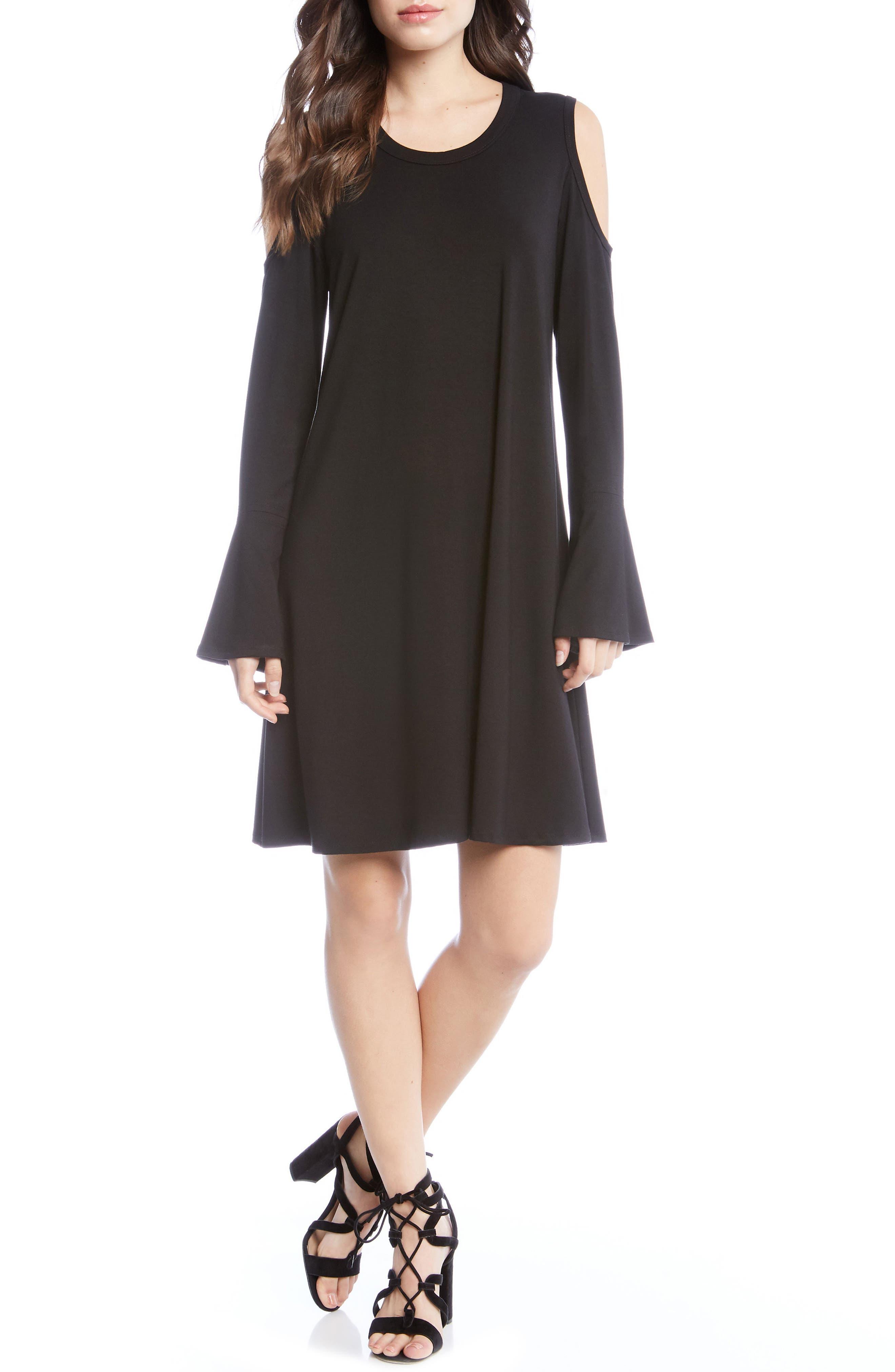 Cold Shoulder A-Line Dress,                             Main thumbnail 1, color,                             Black