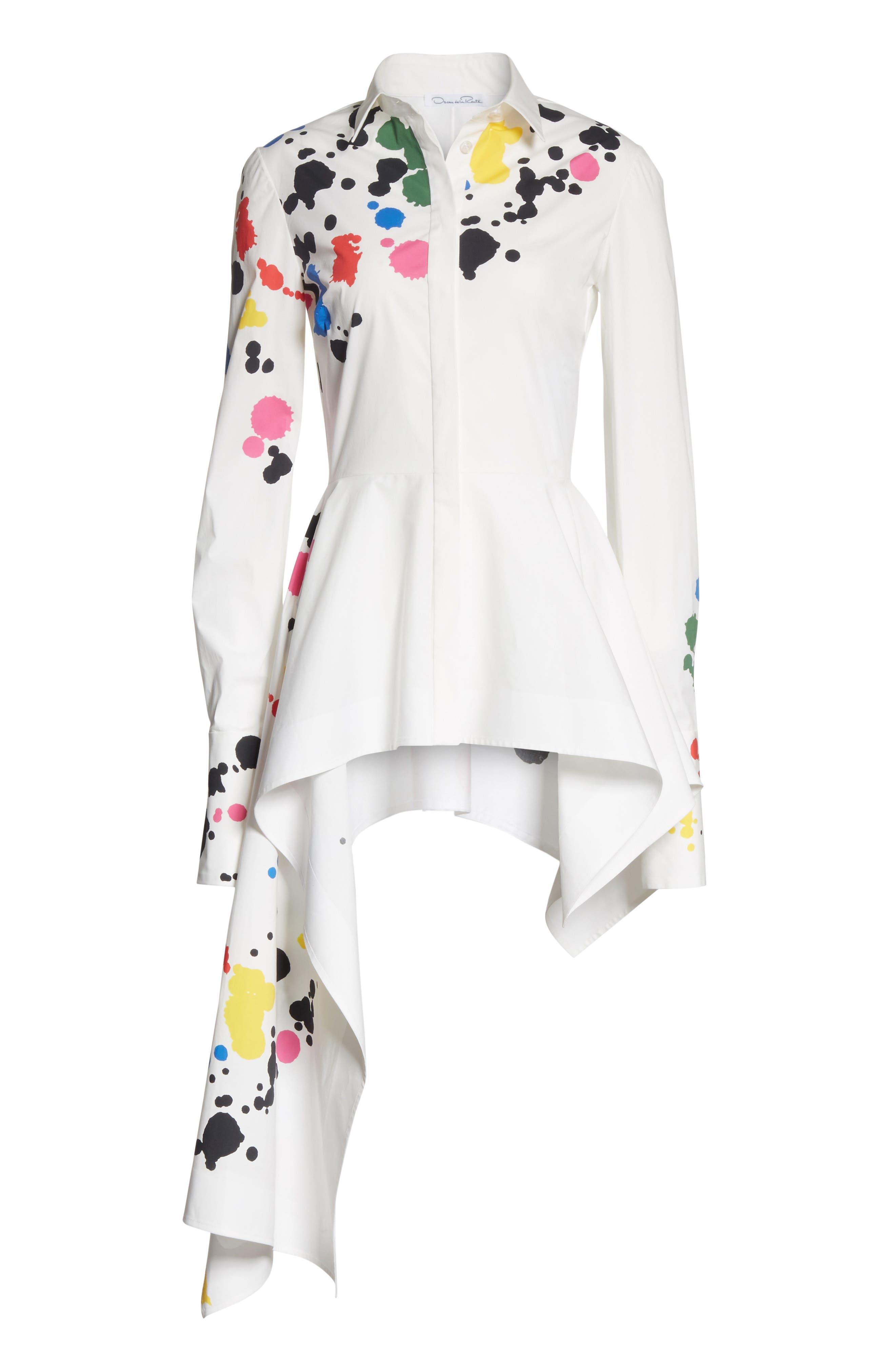 Paint Splatter Asymmetrical Poplin Shirt,                             Alternate thumbnail 6, color,                             White Multi