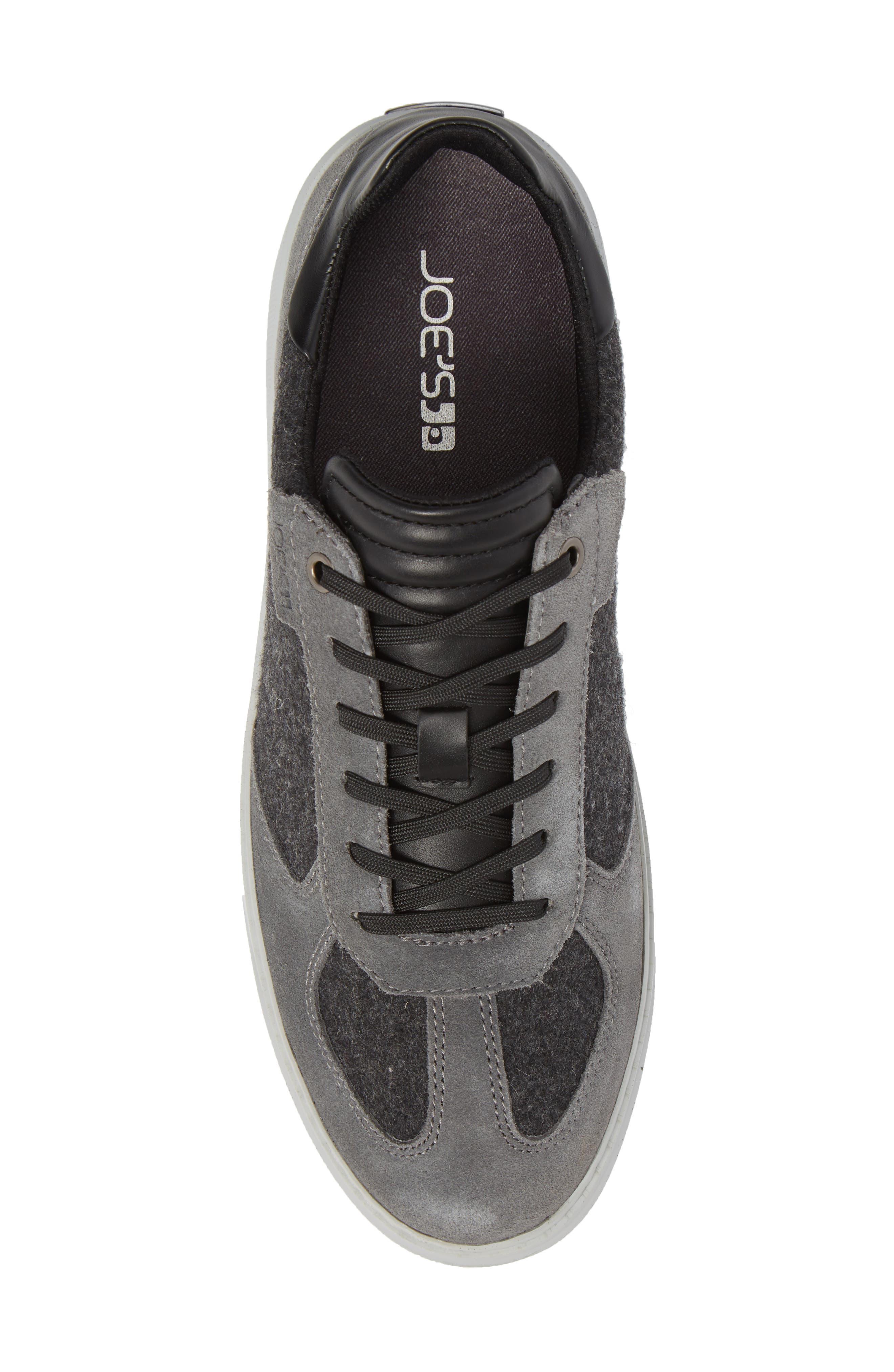 Mo Joe Sneaker,                             Alternate thumbnail 5, color,                             Charcoal Wool/ Suede