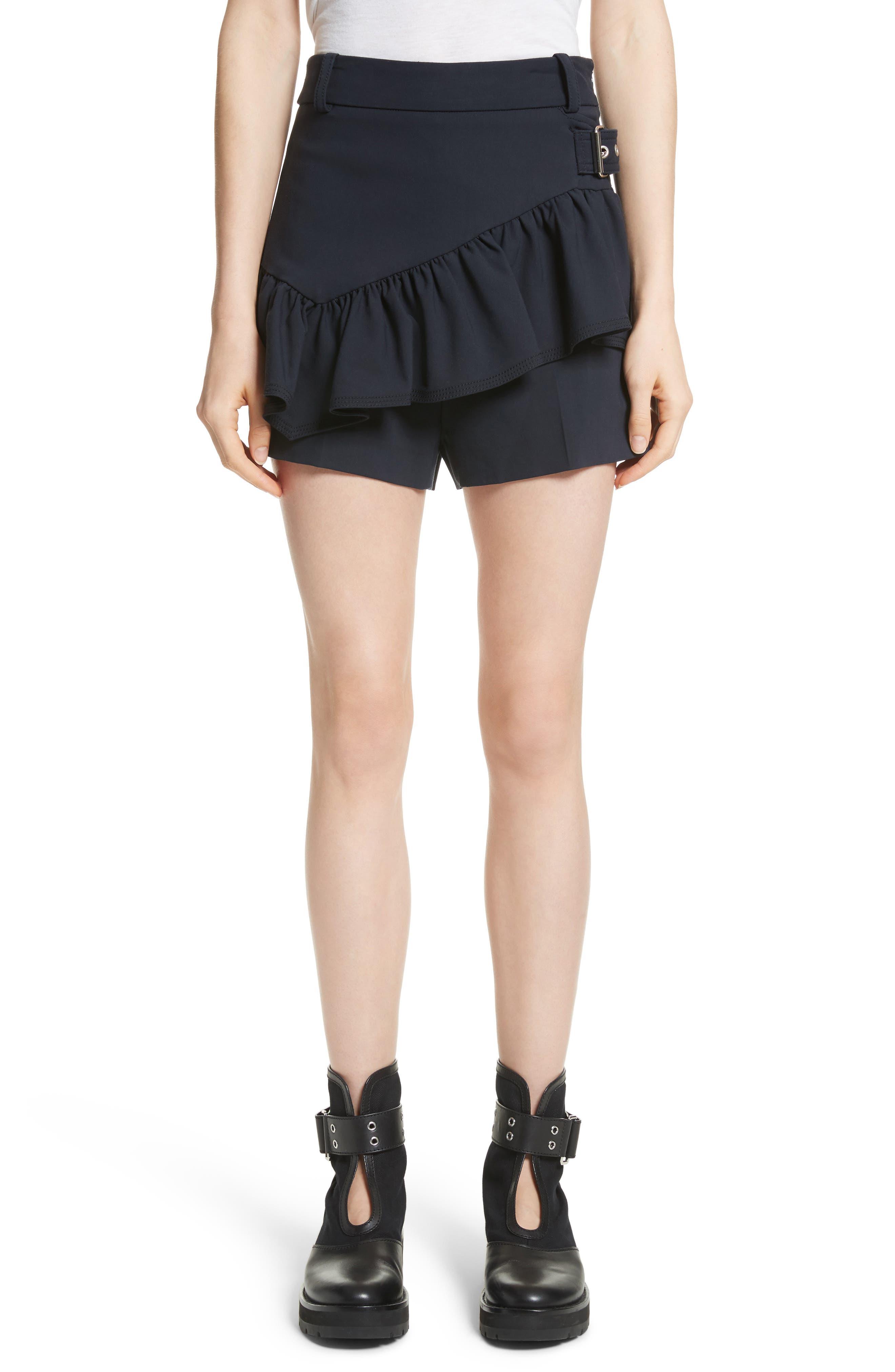 Ruffle Apron Shorts,                         Main,                         color, Midnight