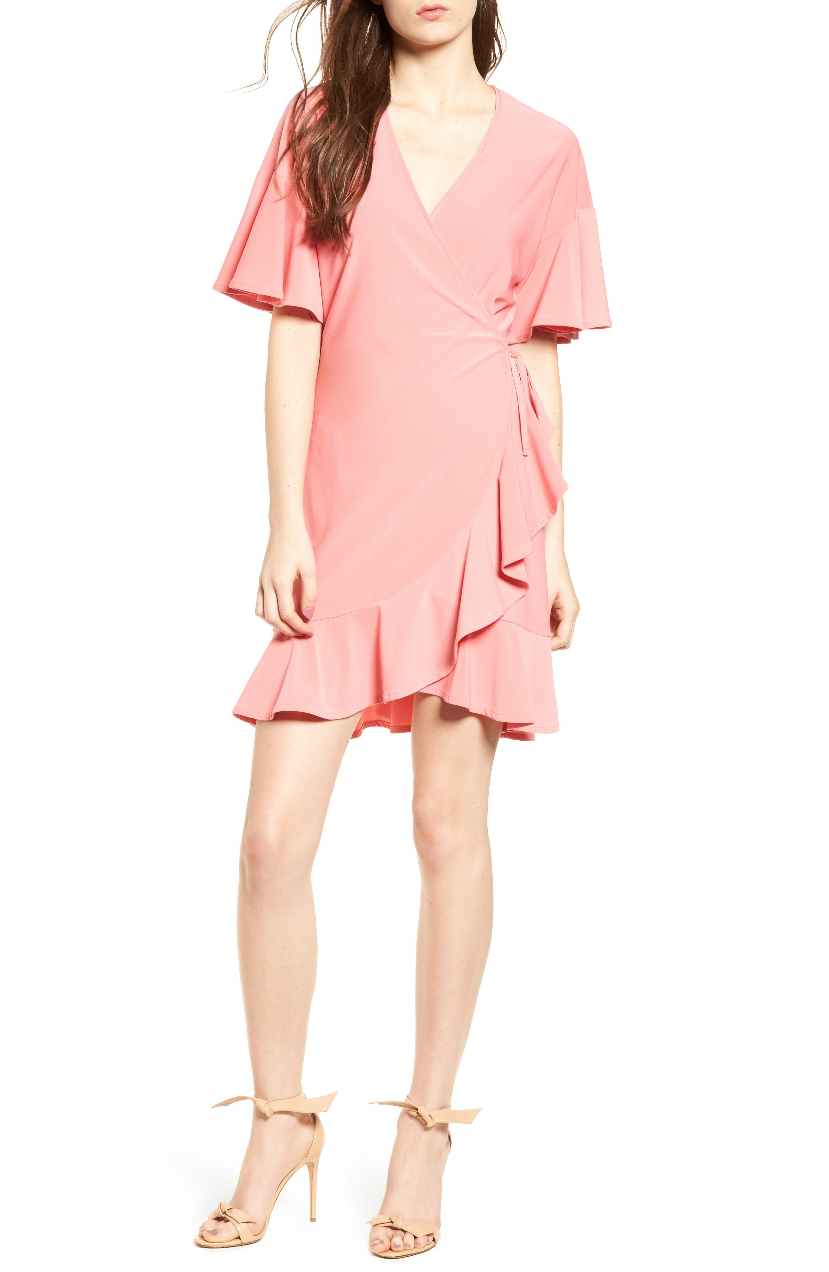 Flounce Sleeve Wrap Dress,                         Main,                         color, Coral Rose Tea
