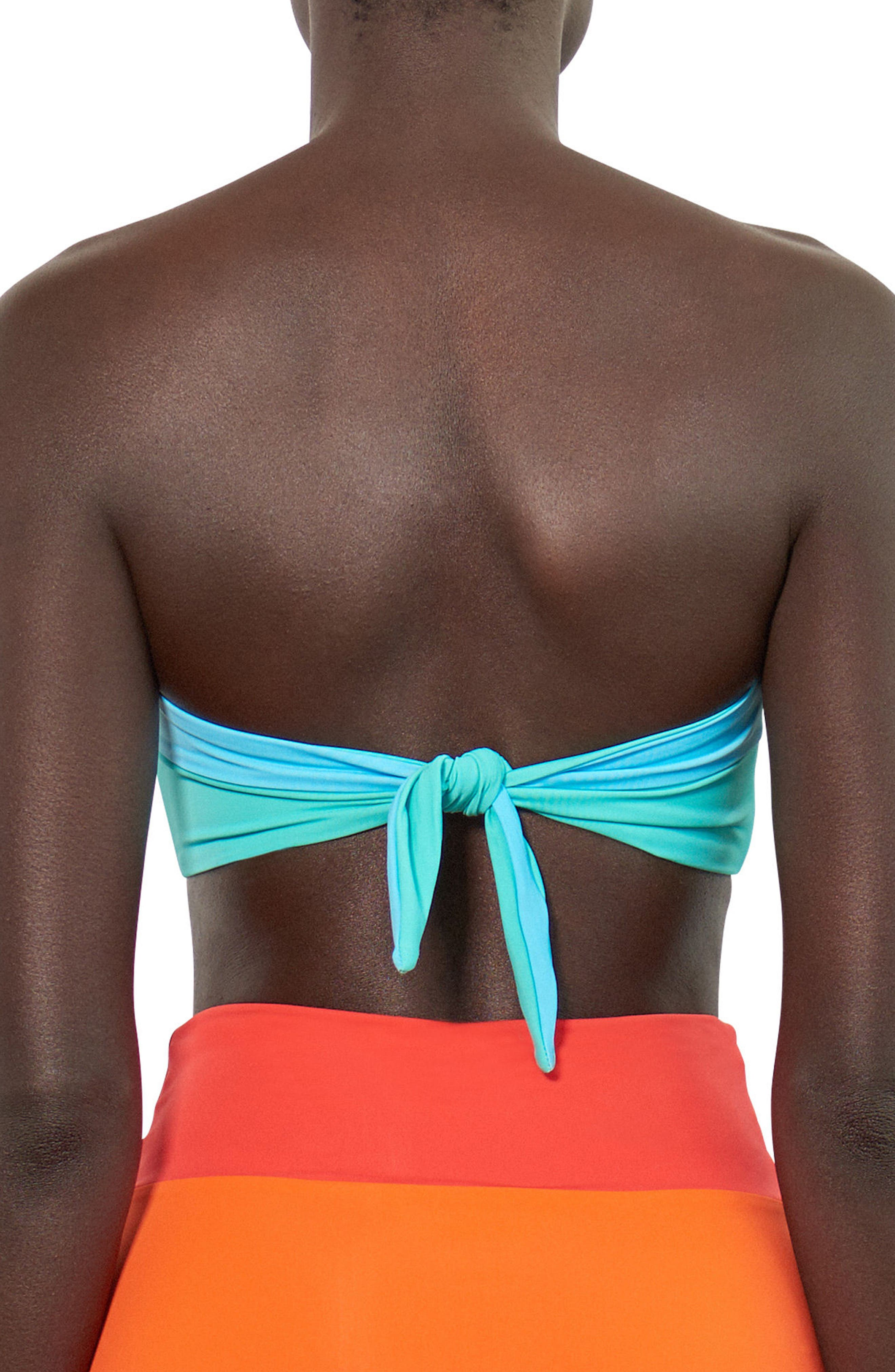 Abigail Bandeau Bikini Top,                             Alternate thumbnail 2, color,                             Blue/ Green Multi