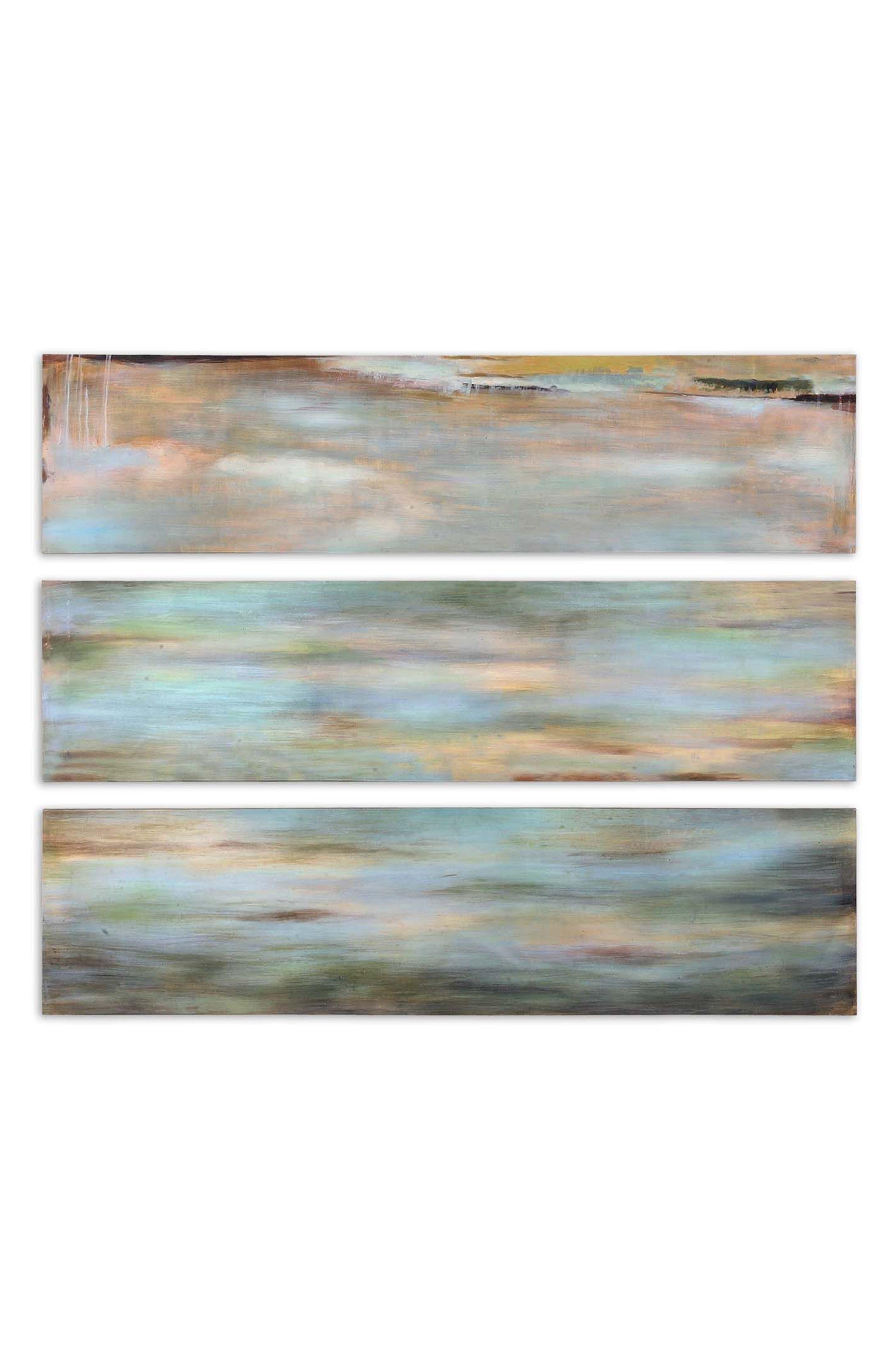 Horizon View 3-Panel Wall Art,                         Main,                         color, Coral
