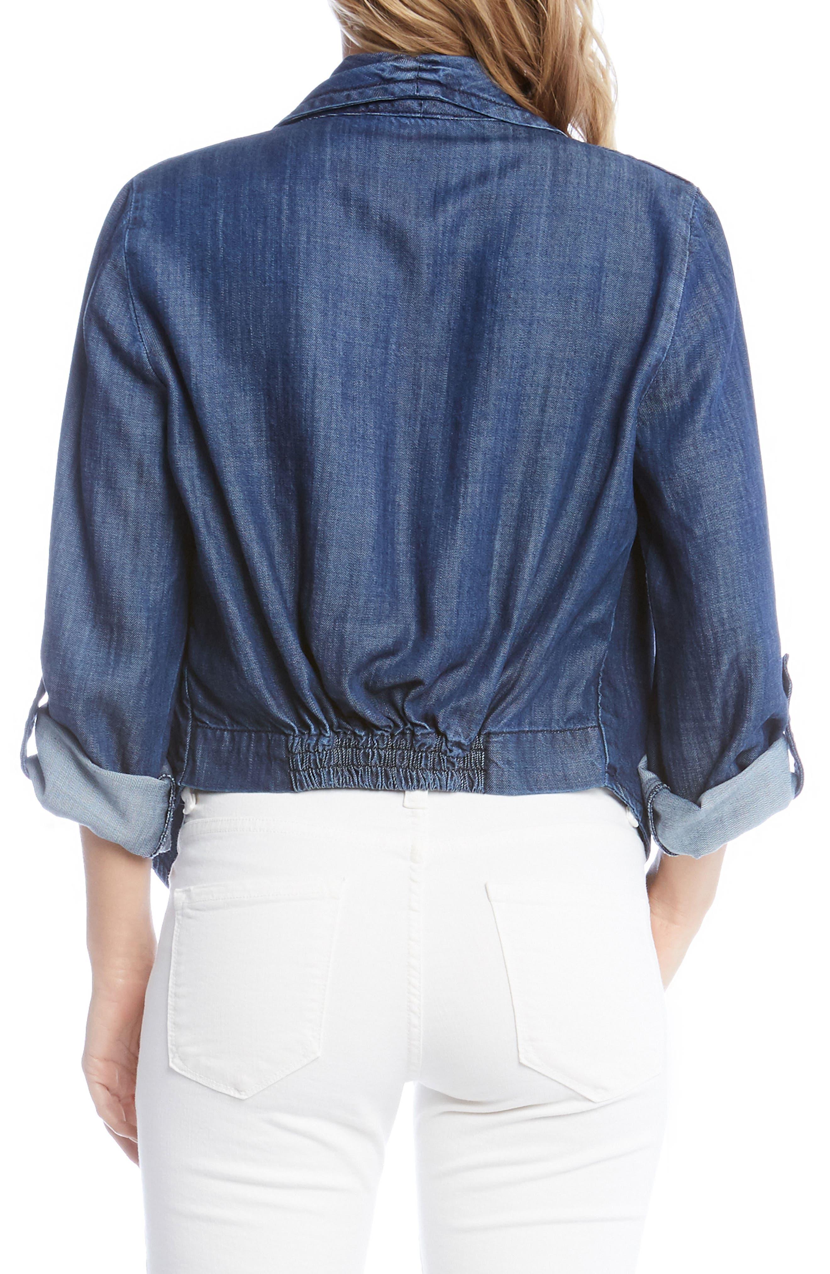 Shirred Back Denim Jacket,                             Alternate thumbnail 2, color,                             Denim