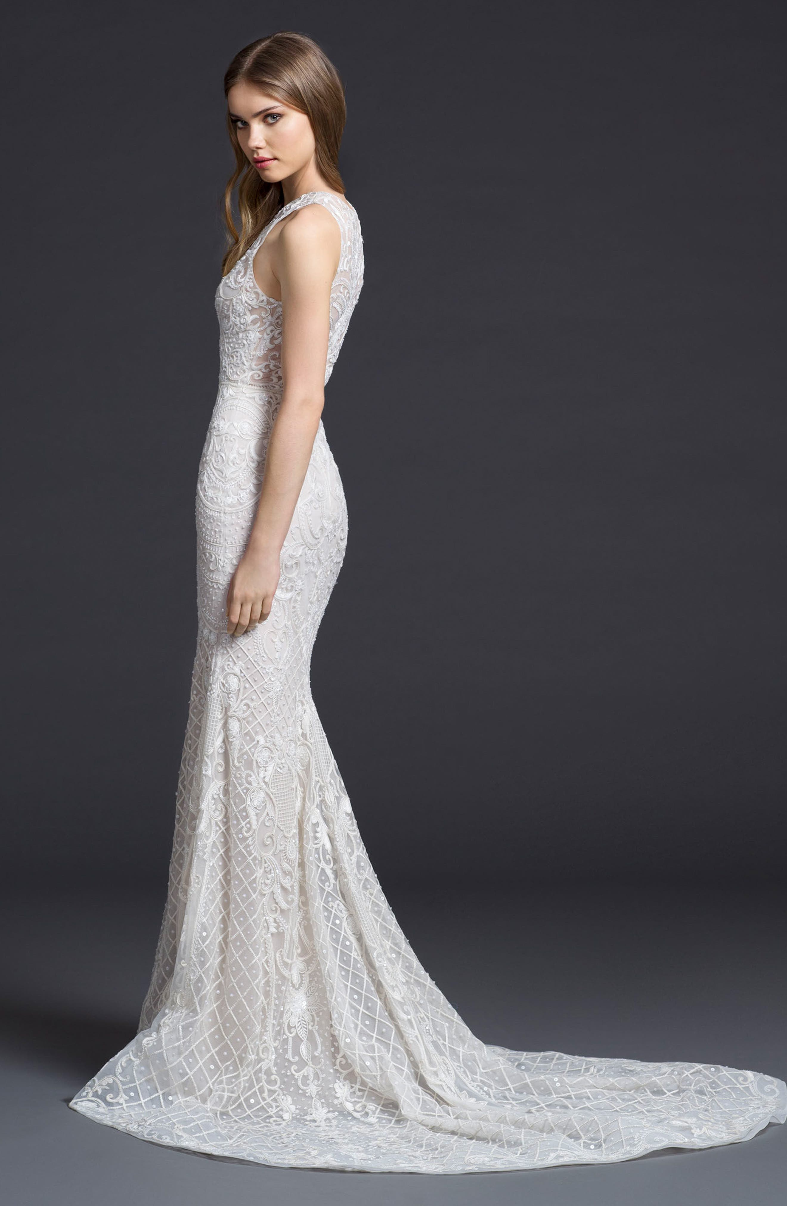 Embroidered Chiffon Trumpet Gown,                             Alternate thumbnail 2, color,                             Ivory/ Cashmere