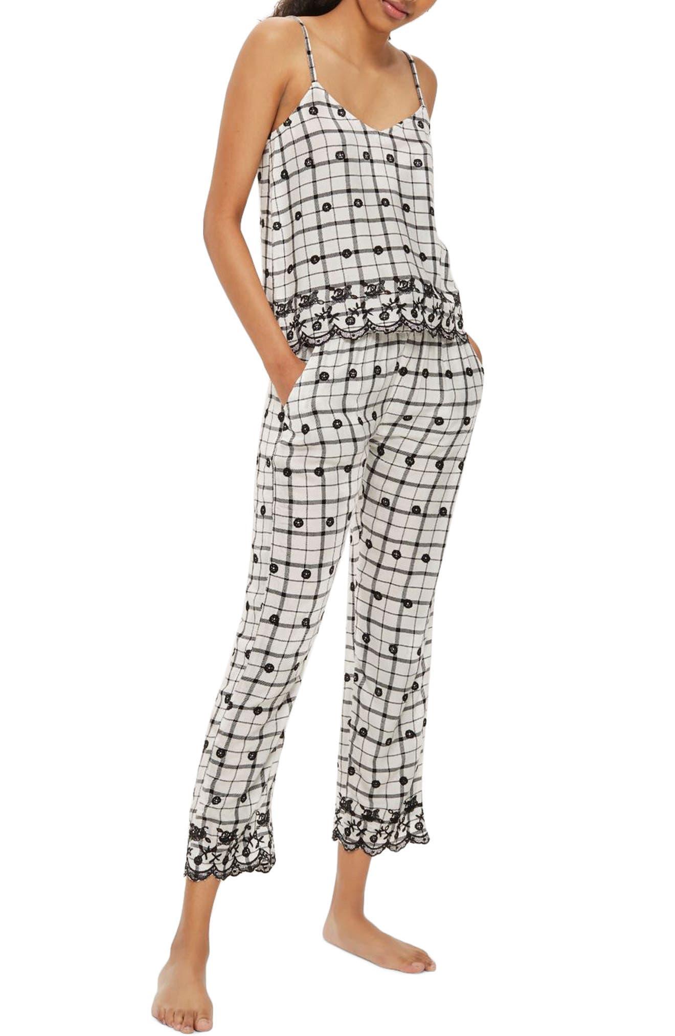 Embroidered Pajama Pants,                         Main,                         color, White Multi