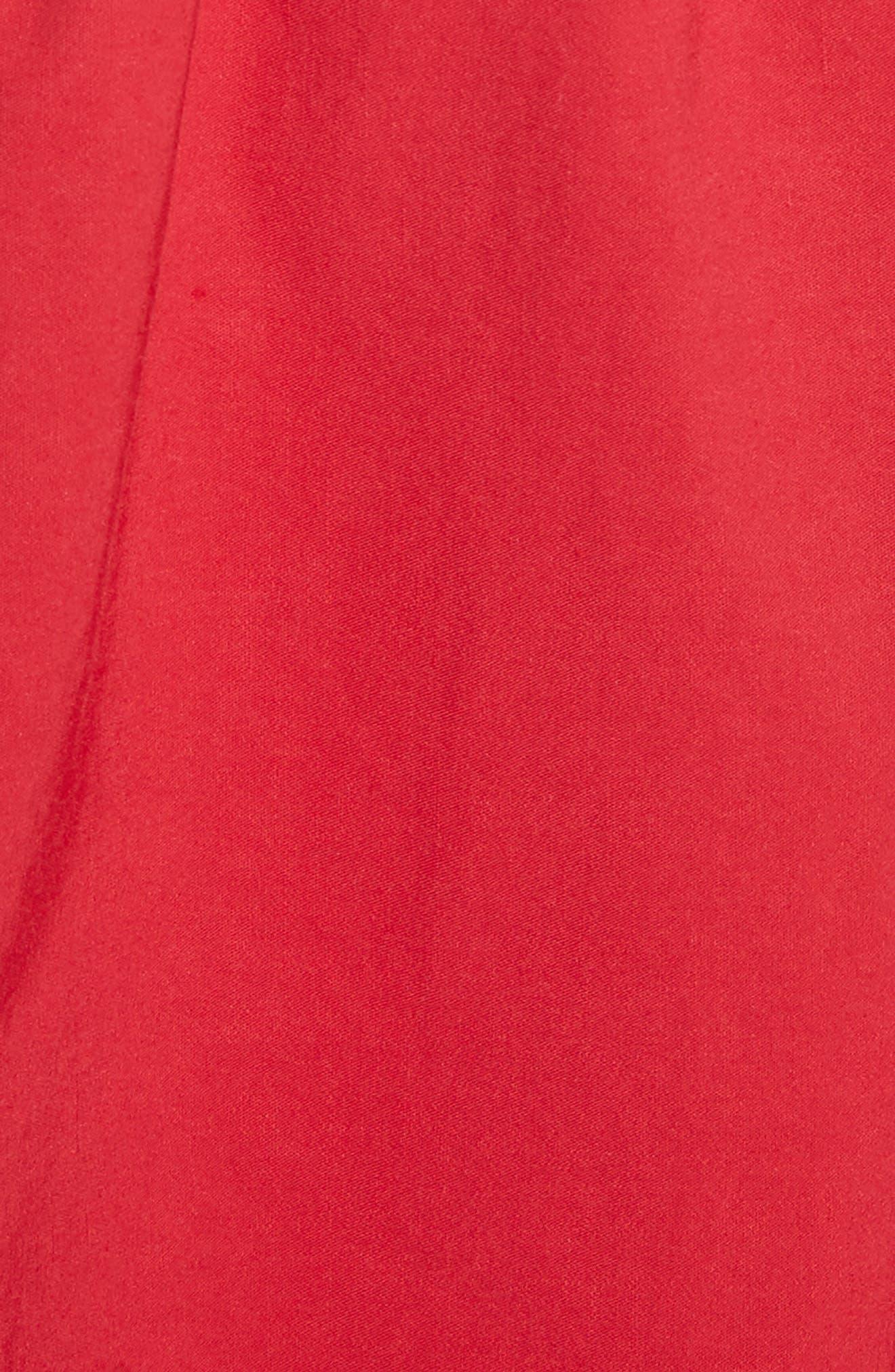 Cecily Cotton & Linen Blend Midi Dress,                             Alternate thumbnail 5, color,                             Red
