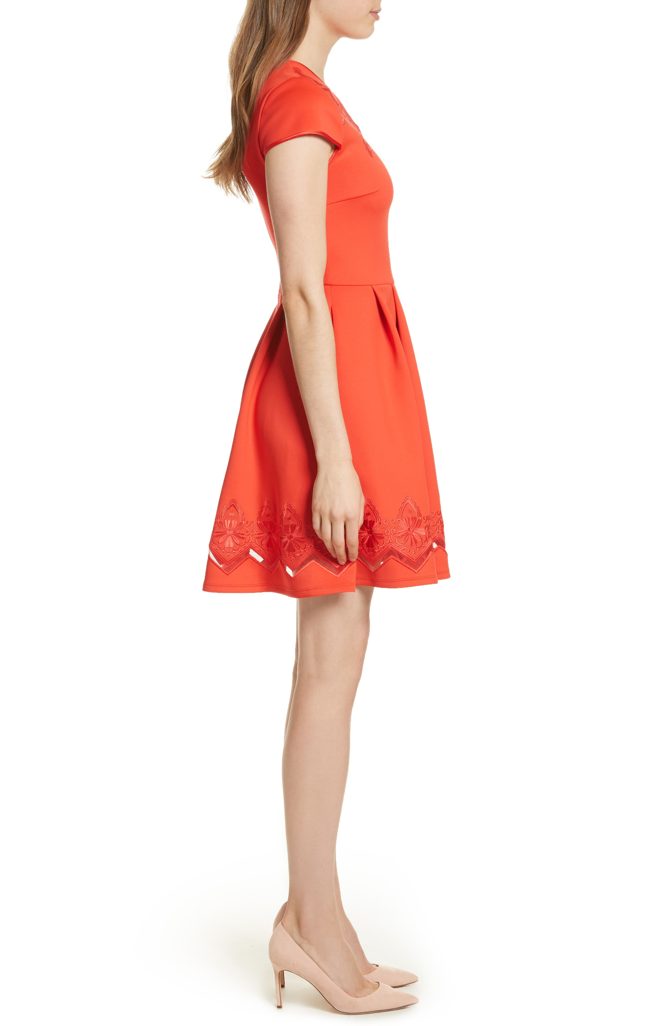 Lace & Mesh Skater Dress,                             Alternate thumbnail 2, color,                             Bright Red