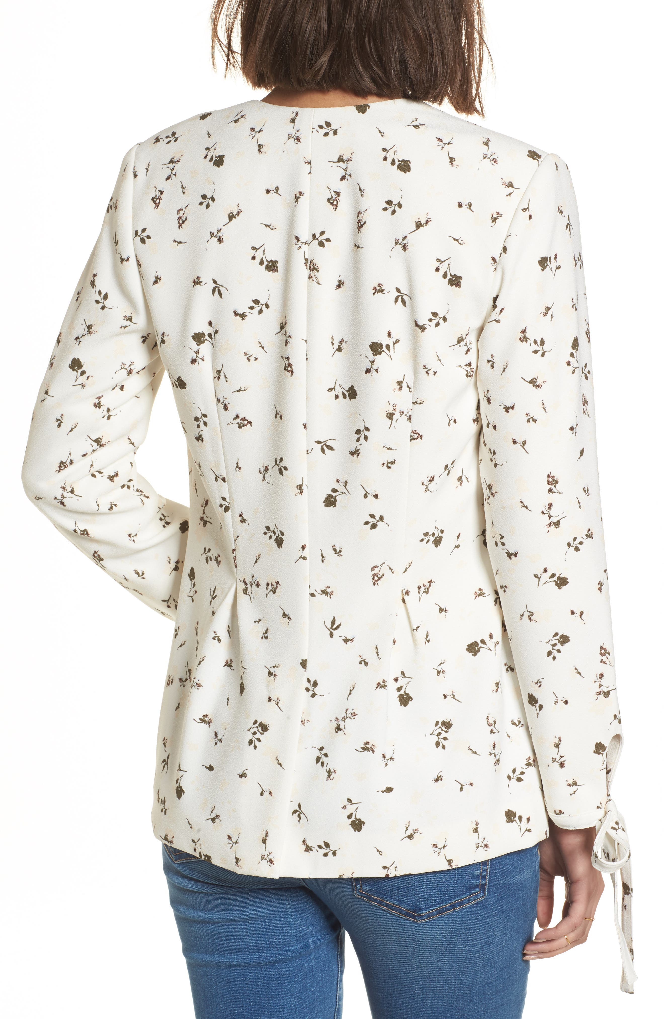 Tie Sleeve Blazer,                             Alternate thumbnail 2, color,                             Ivory Cotton Floral