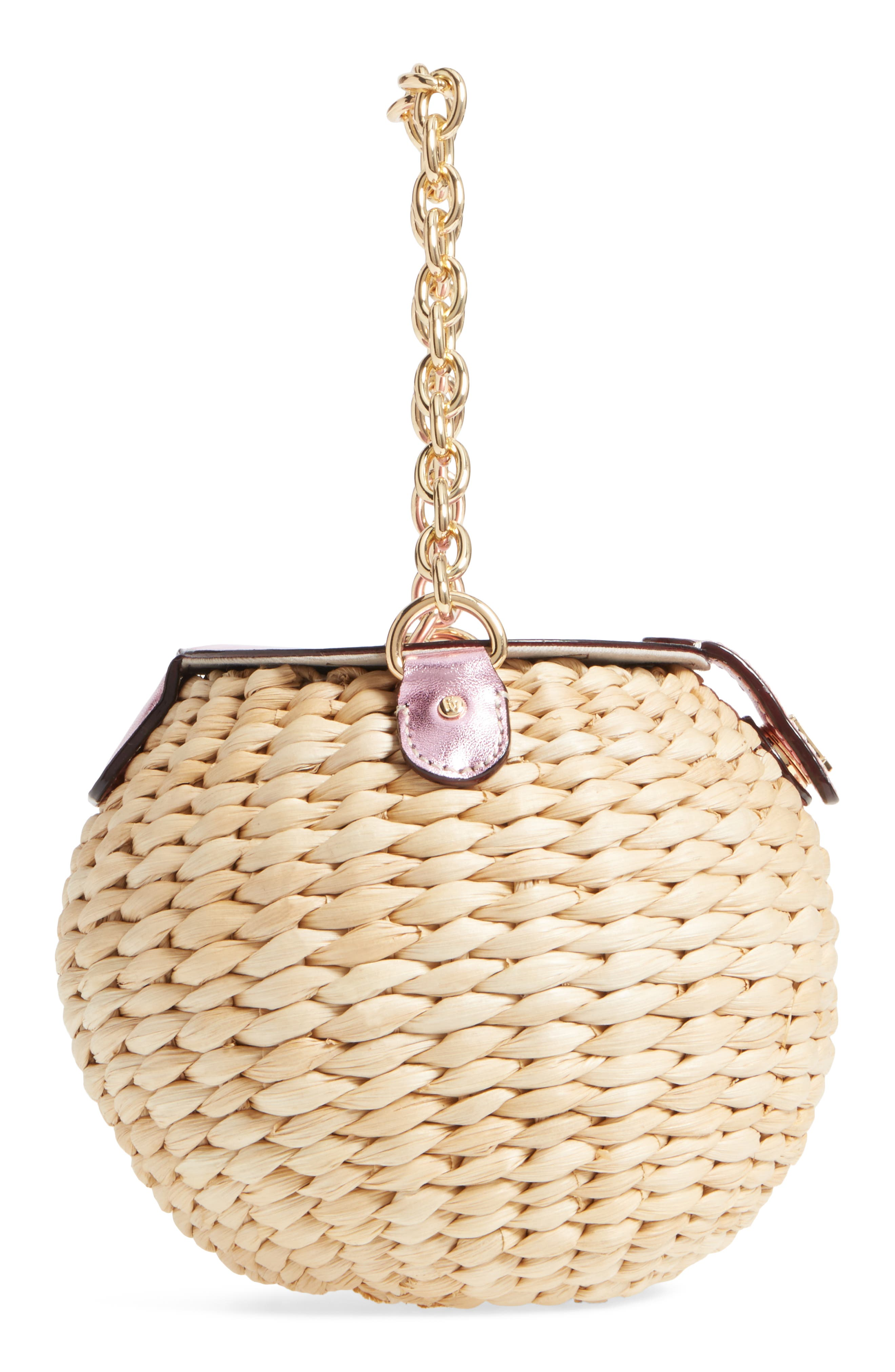 Mini Straw Bucket Bag,                             Alternate thumbnail 5, color,                             Pink
