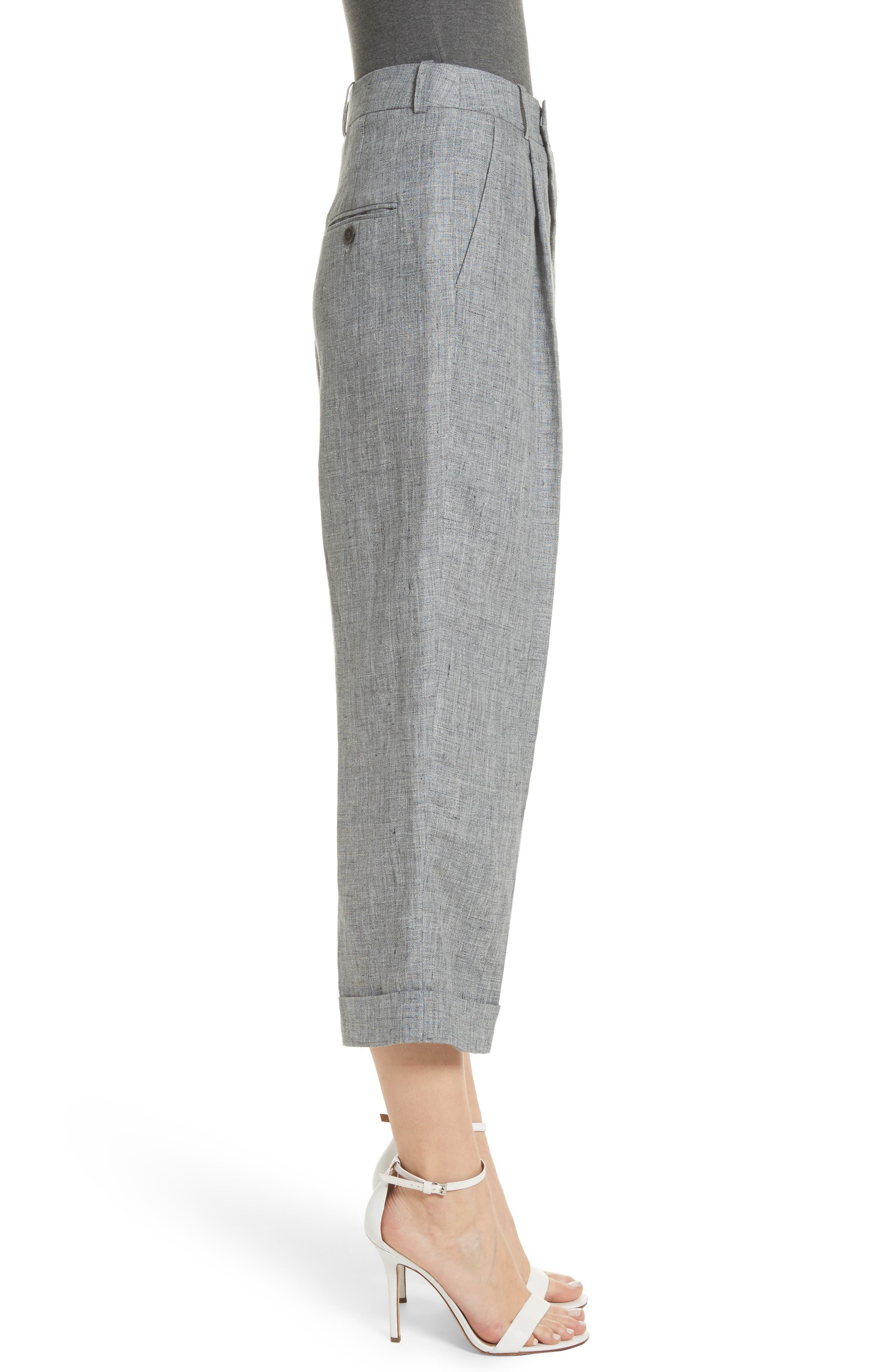Cross Front Linen Crop Trousers,                             Alternate thumbnail 3, color,                             Banker Melange