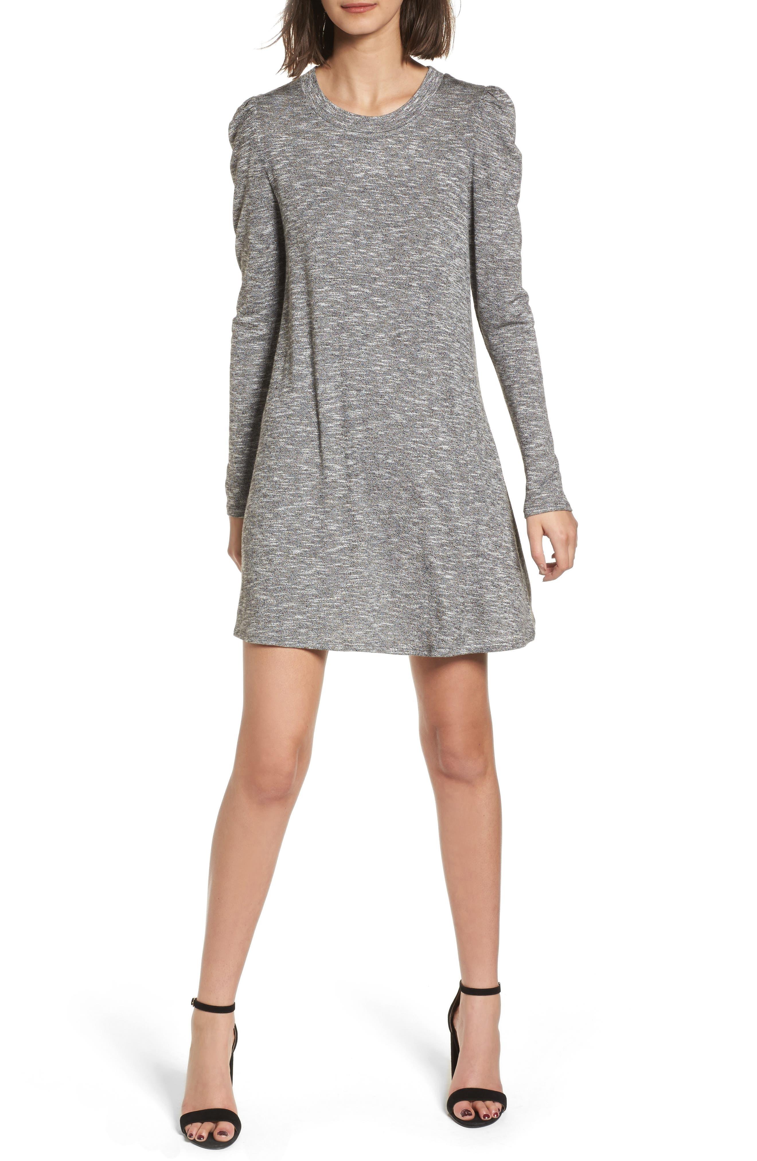 Knit Puff Shoulder Dress,                         Main,                         color, Heather Grey