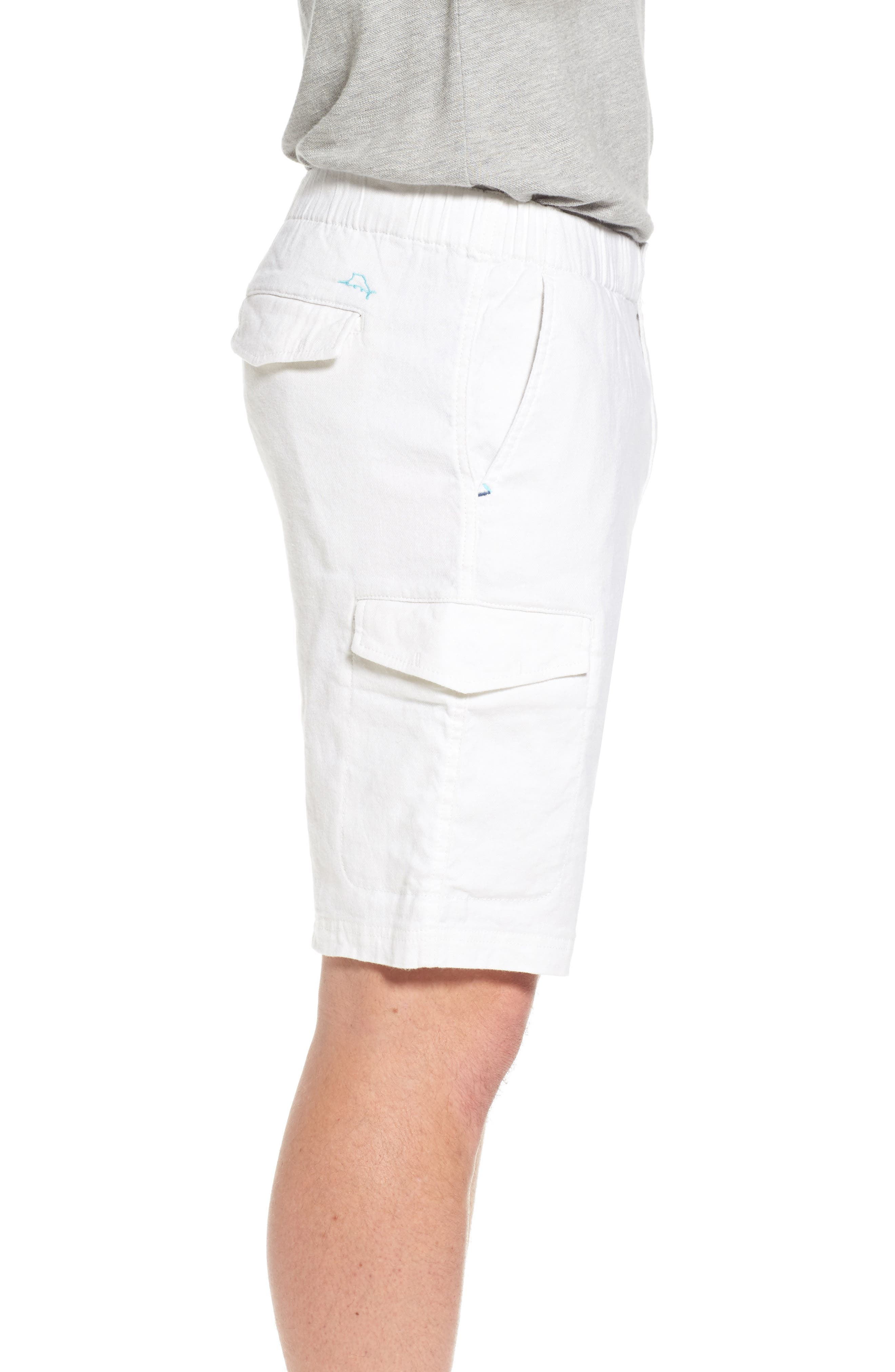 Beach Authentic Fit Linen Blend Cargo Shorts,                             Alternate thumbnail 3, color,                             Continental