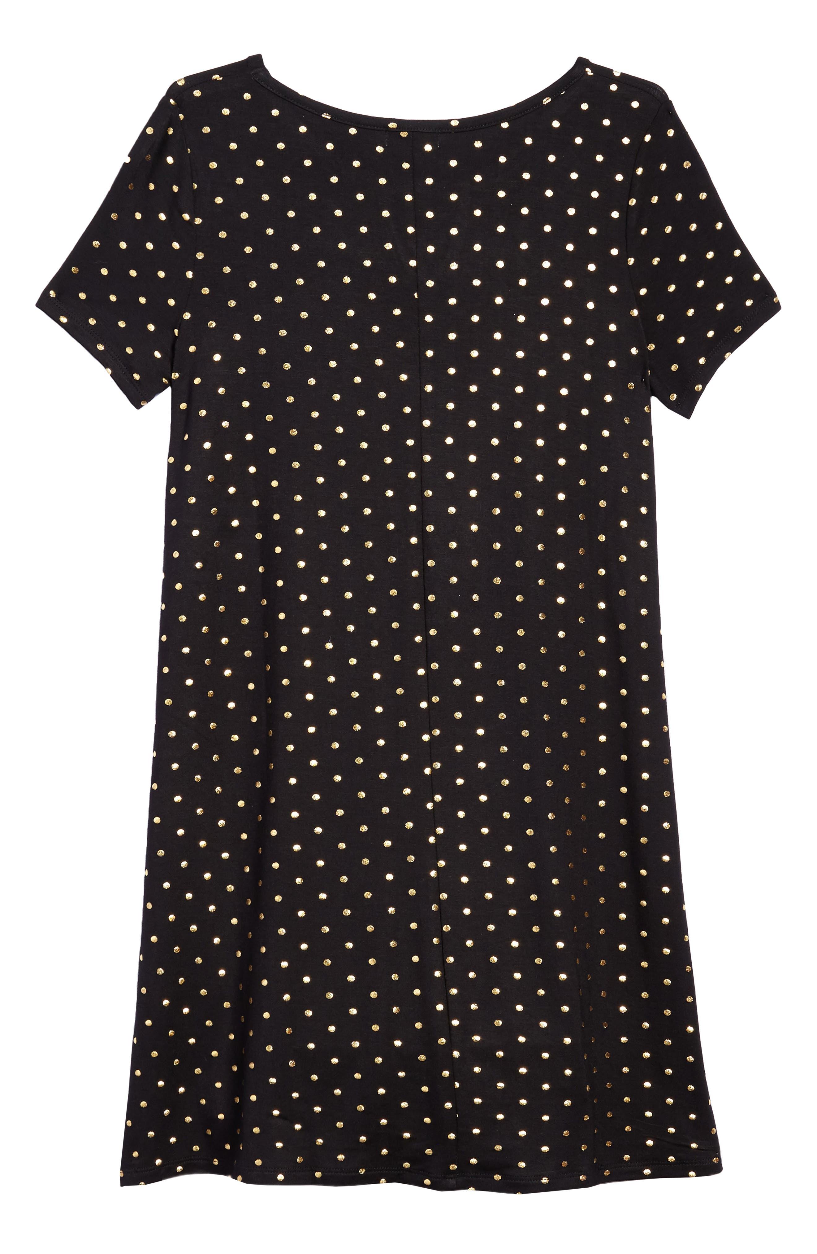 Foil Polka Dot Jersey Dress,                             Alternate thumbnail 2, color,                             Black/ Gold Foil