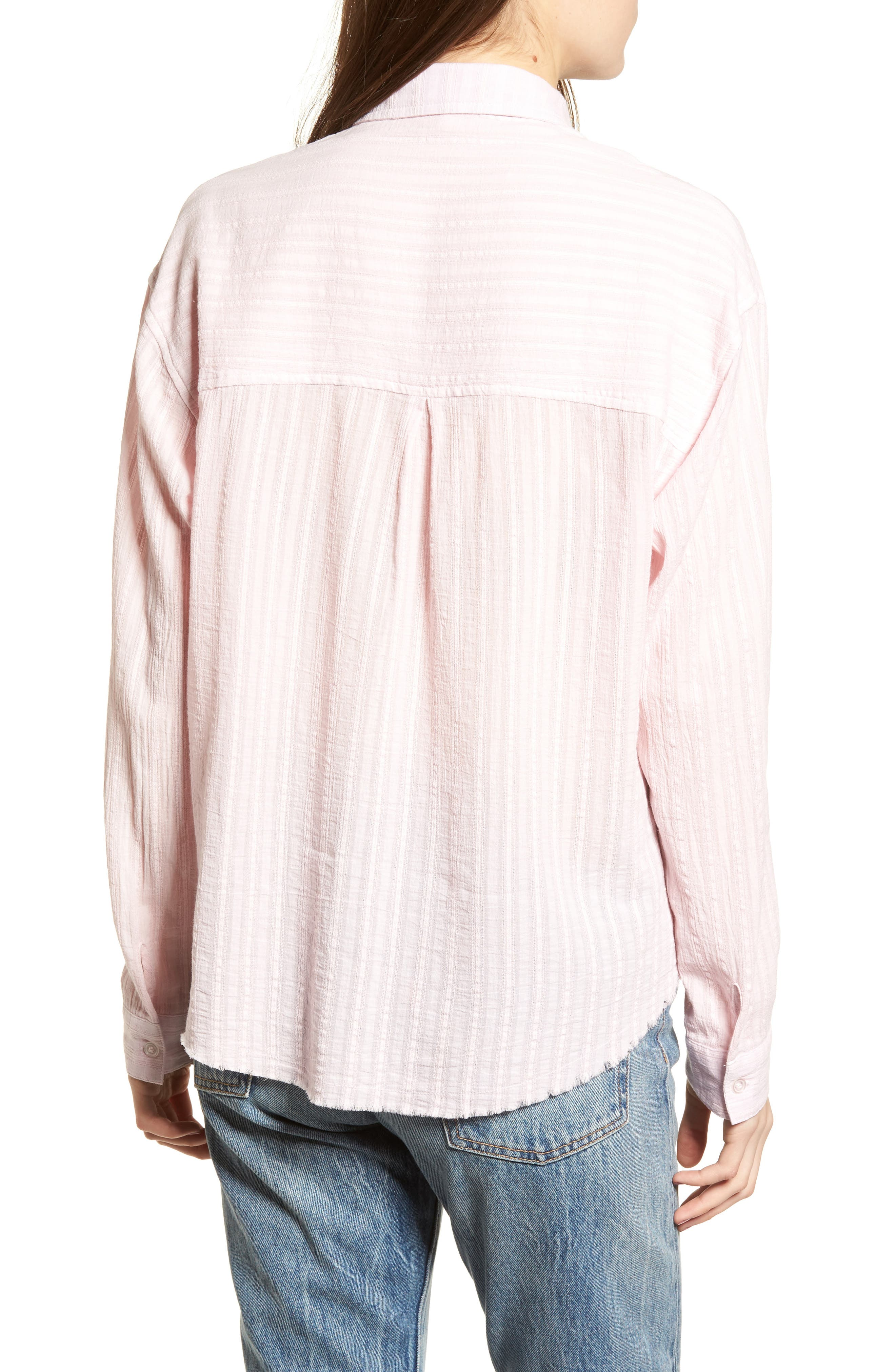 Raw Hem Shirt,                             Alternate thumbnail 2, color,                             Light Pink