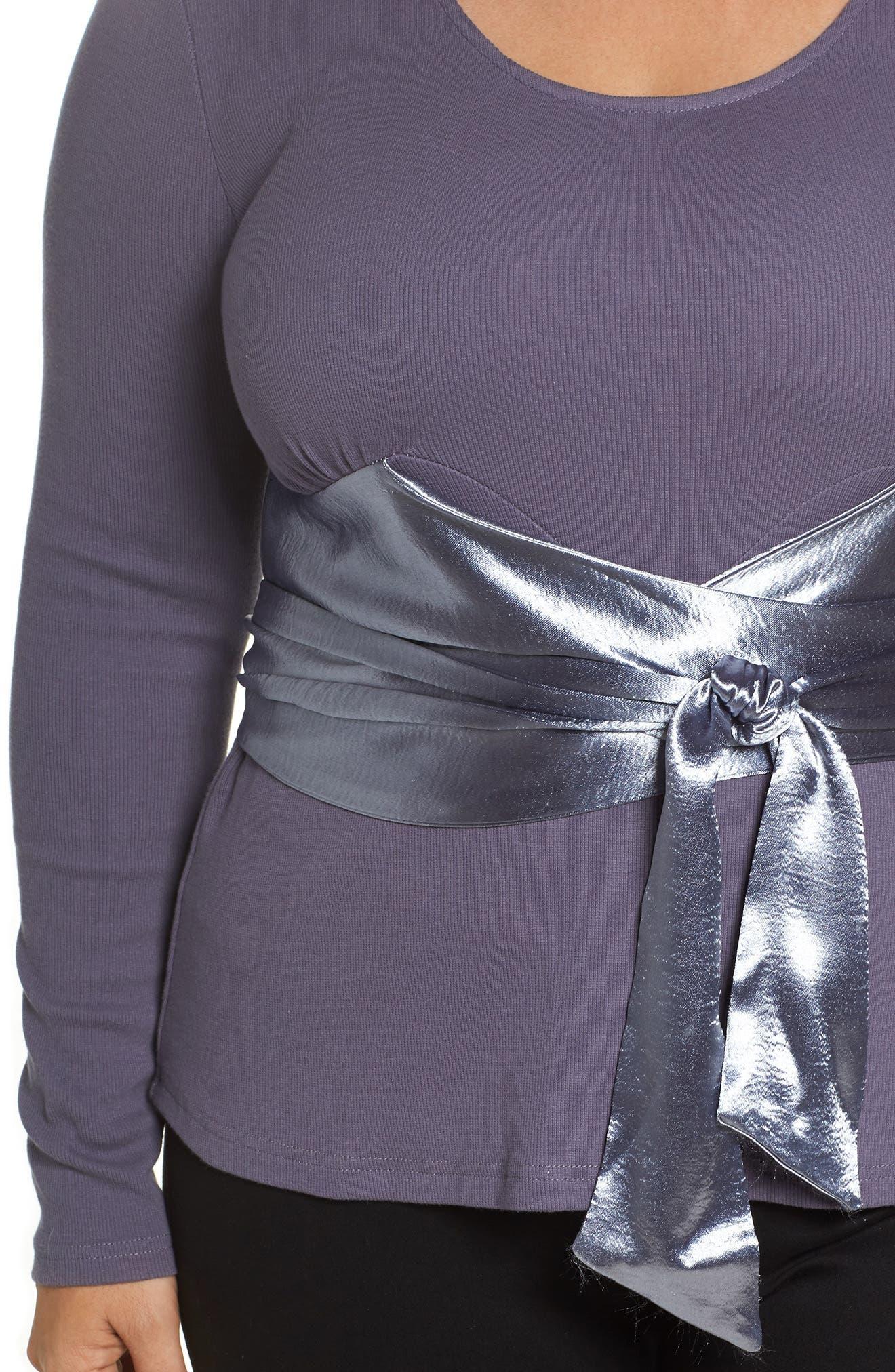 Satin Sash Knit Top,                             Alternate thumbnail 4, color,                             Grey