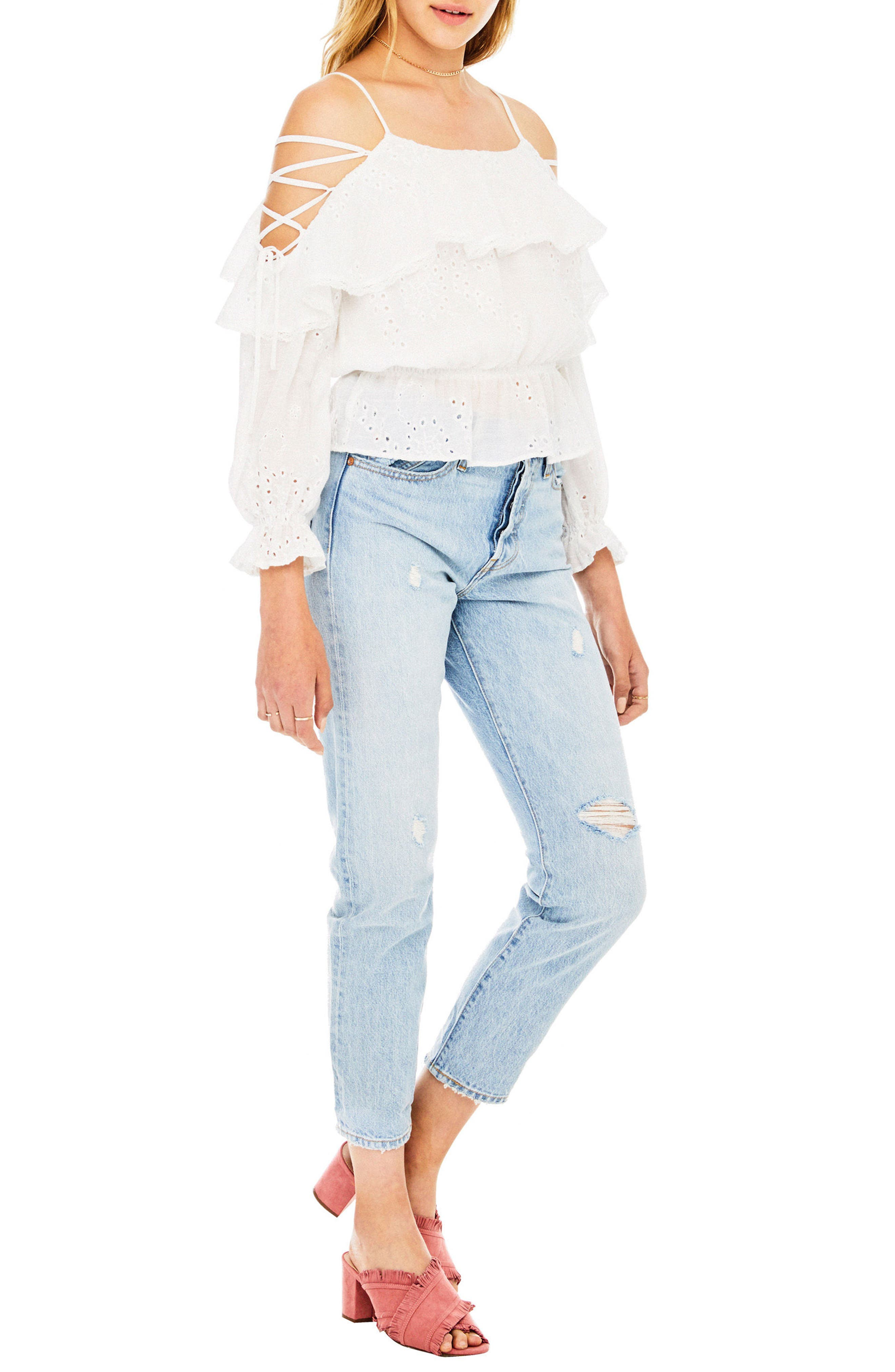 Kennedy Off the Shoulder Top,                             Alternate thumbnail 3, color,                             White