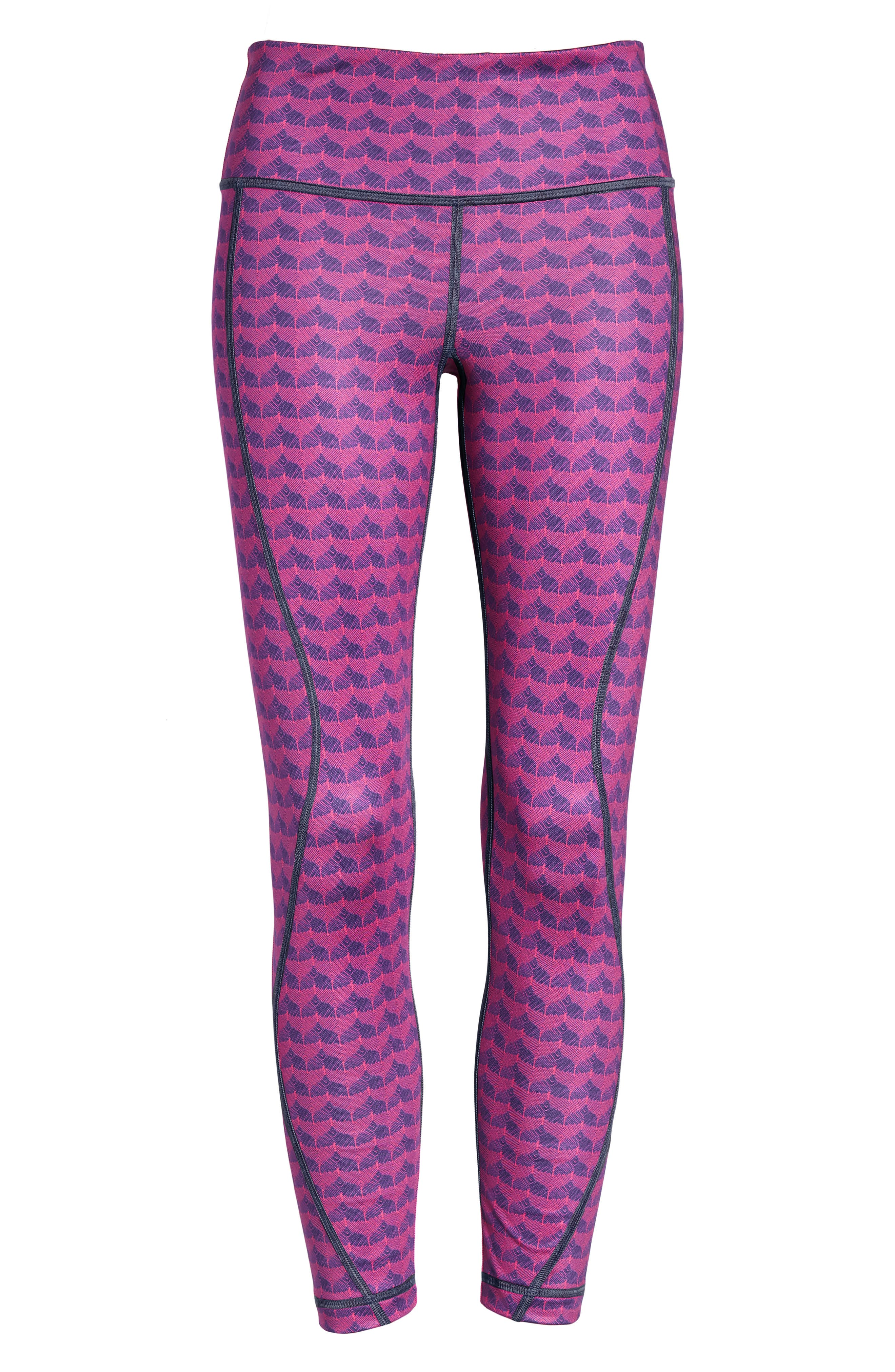 Etched Whale Tail Performance Leggings,                             Alternate thumbnail 6, color,                             Pink