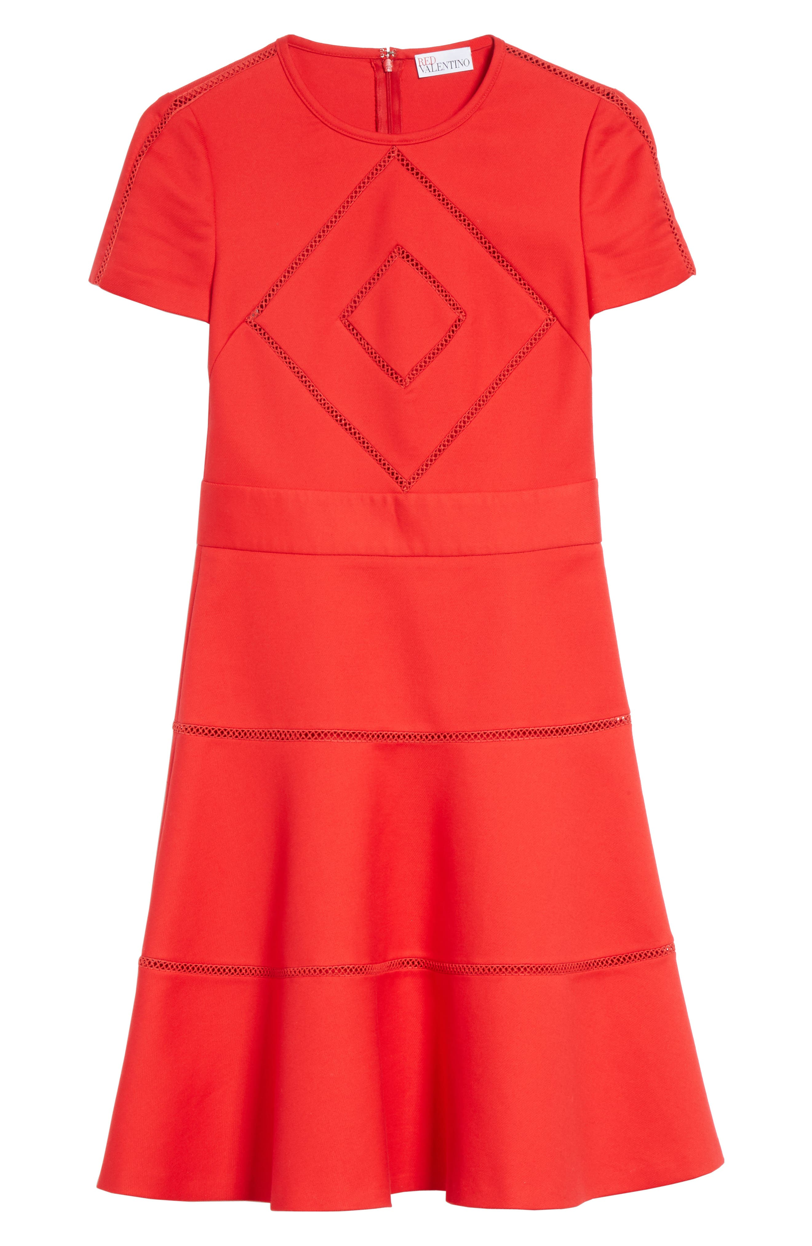 Open Stripe Fit & Flare Dress,                             Alternate thumbnail 6, color,                             Red