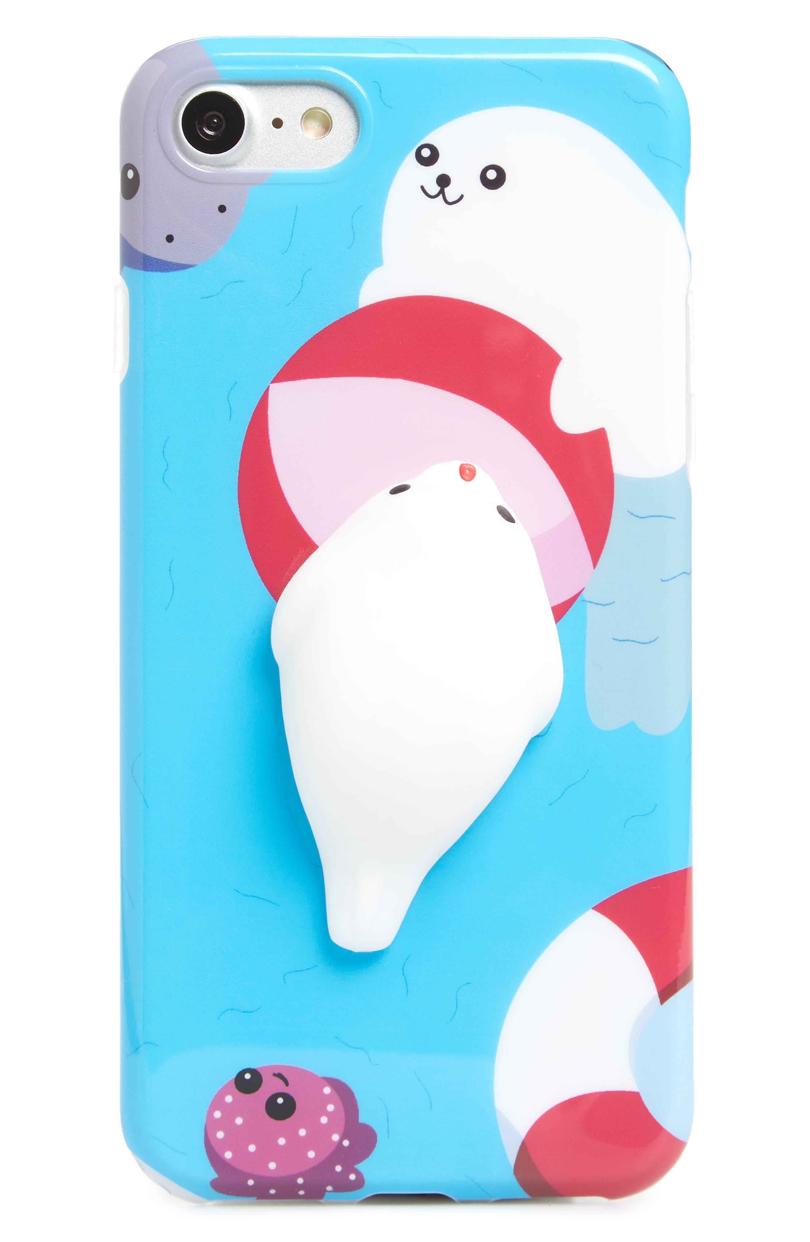 Squishy Sea Lion iPhone 7/8 Case,                         Main,                         color, Blue/ Multi