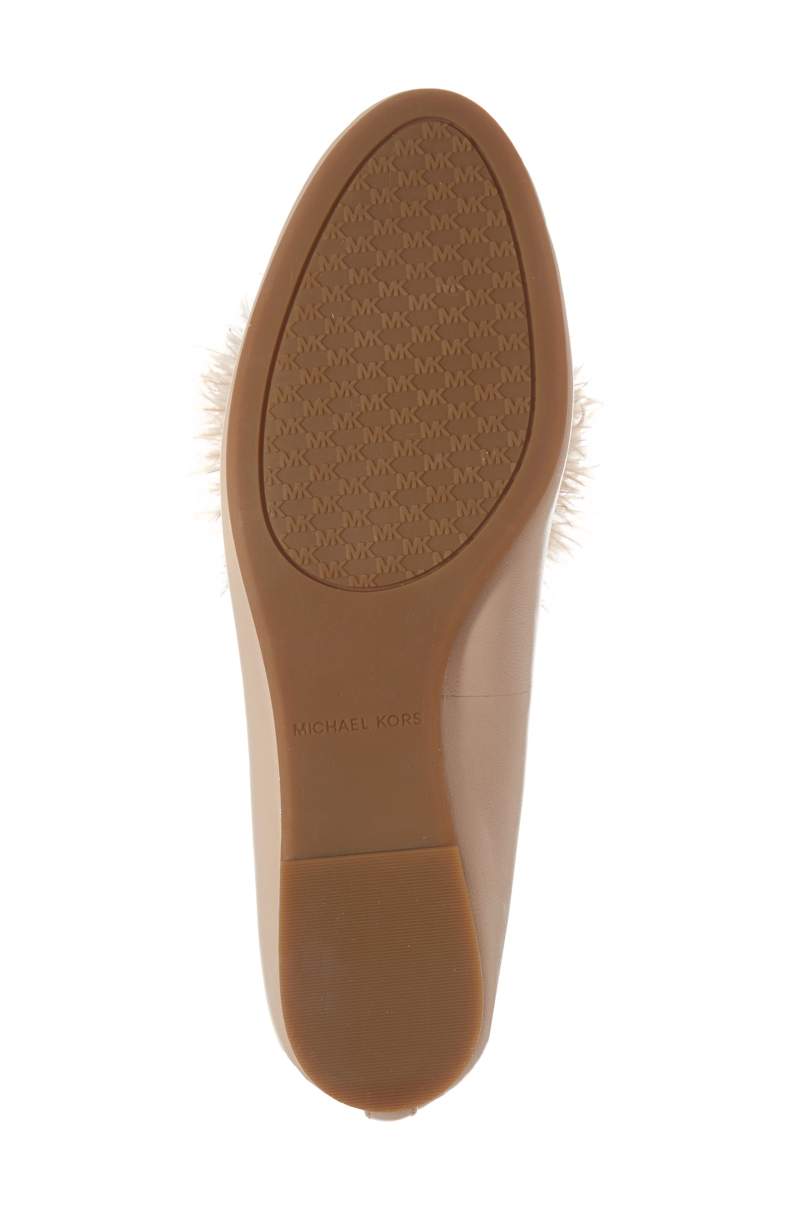 Fara Feather Pom Loafer,                             Alternate thumbnail 6, color,                             Oyster Nappa Leather