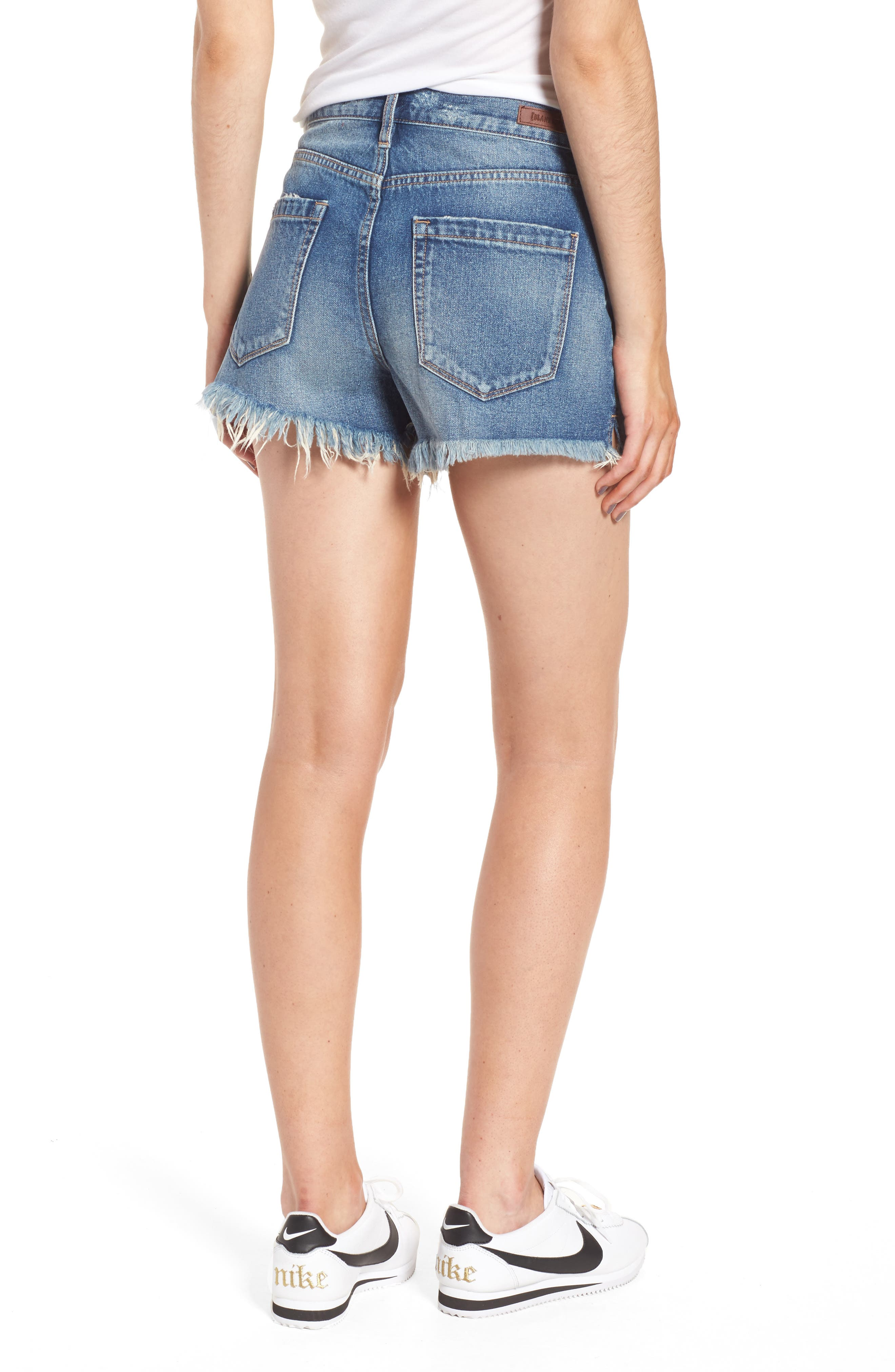 Pin-Up Distressed Denim Shorts,                             Alternate thumbnail 2, color,                             Poster Child
