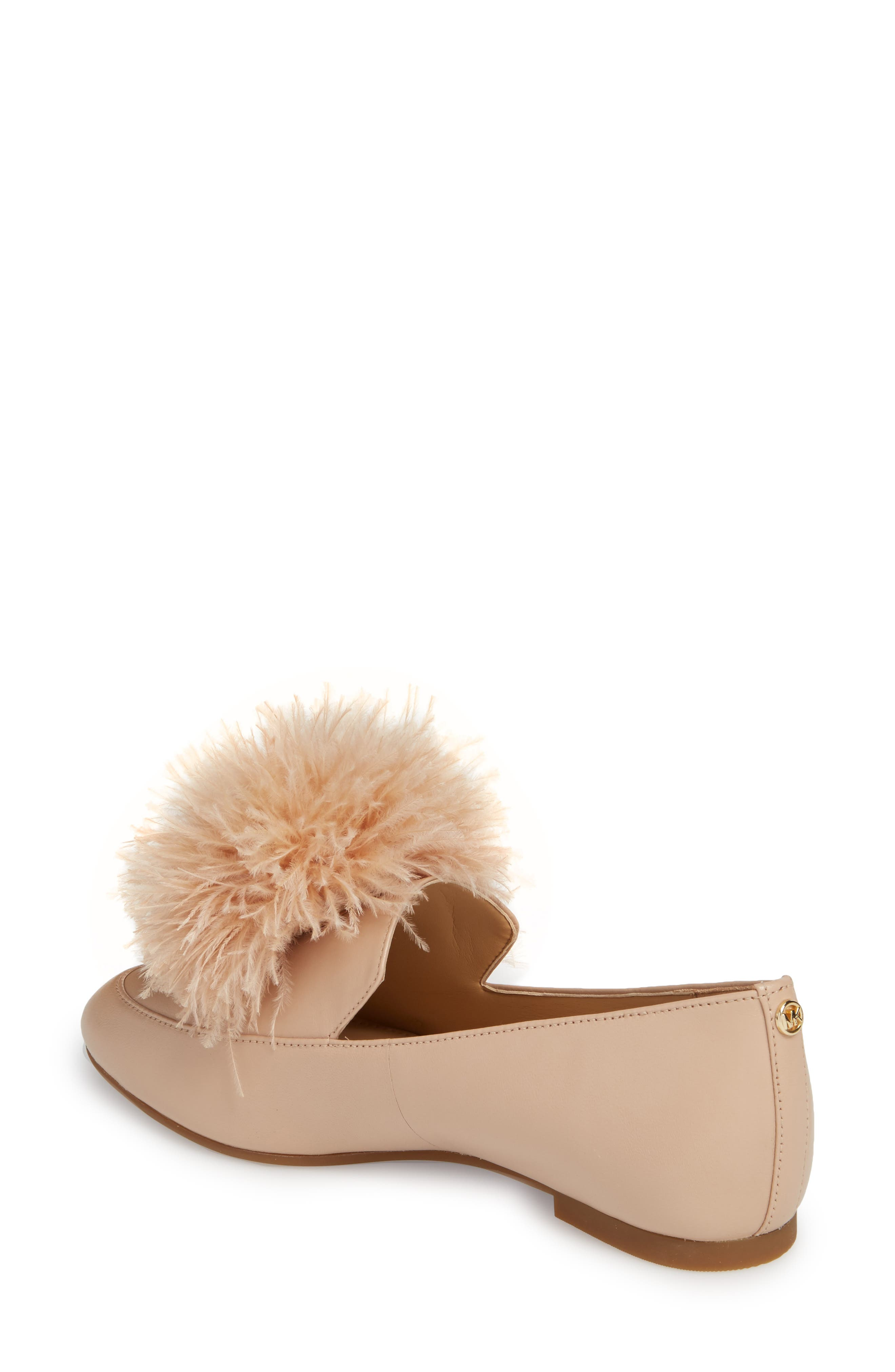 Fara Feather Pom Loafer,                             Alternate thumbnail 2, color,                             Oyster Nappa Leather